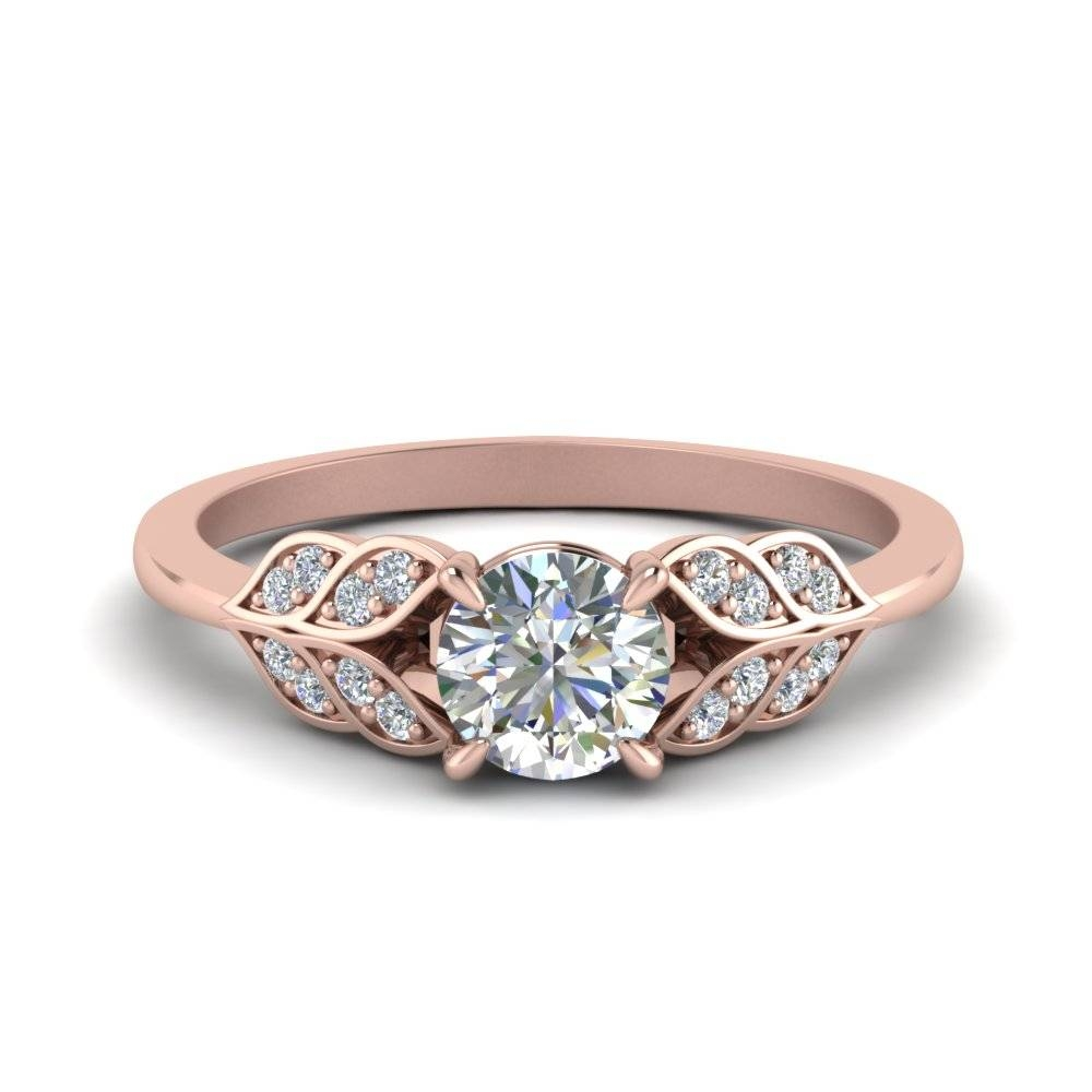 Round Cut Vintage Leaf Diamond Engagement Ring In 14K Rose Gold Regarding Round Antique Engagement Rings (View 12 of 15)