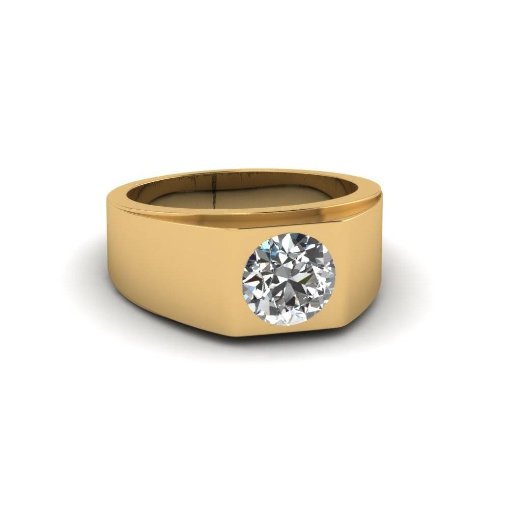 Round Cut White Diamond Mens Wedding Ring Bezel Set In 14K Yellow Pertaining To Male Gold Wedding Rings (View 10 of 15)