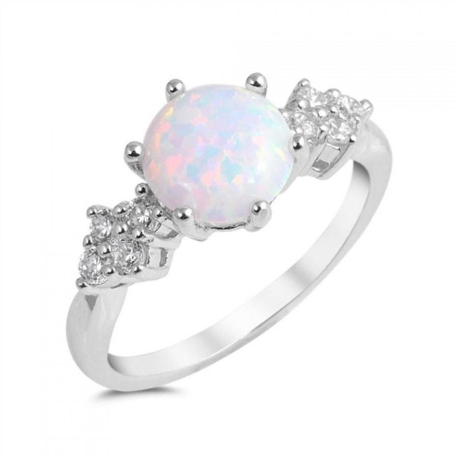 Round Cut White Opal Ring Solid 925 Sterling Silver Lab White Within Australia Opal Engagement Rings (View 13 of 15)