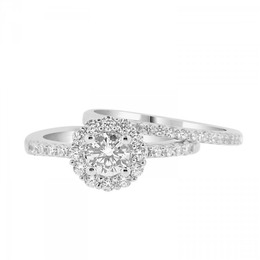 Round Cz Solitaire Halo Engagement Ring With Matching Wedding Band Inside Wedding Bands To Match Halo Rings (View 11 of 15)
