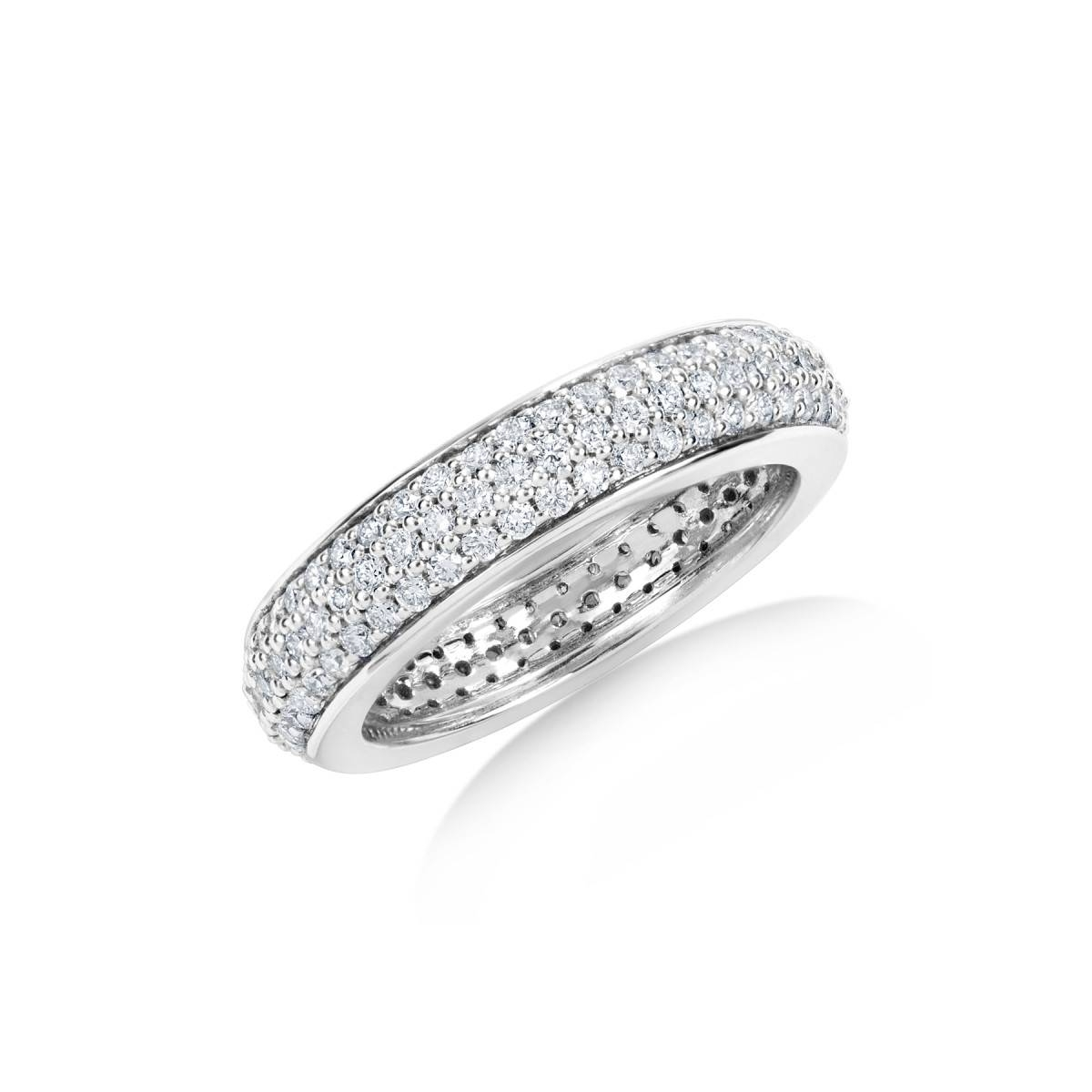 Round Diamond Three Row Pavé Eternity Set Wedding Band In Most Popular Pave Setting Wedding Bands (View 10 of 15)