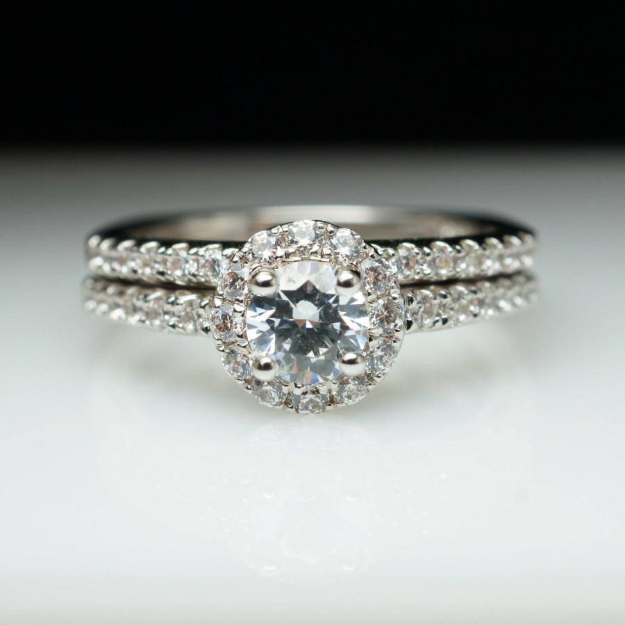 Round Halo Diamond Engagement Ring & Wedding Band Complete Set Pertaining To Halo Wedding Bands (View 10 of 15)