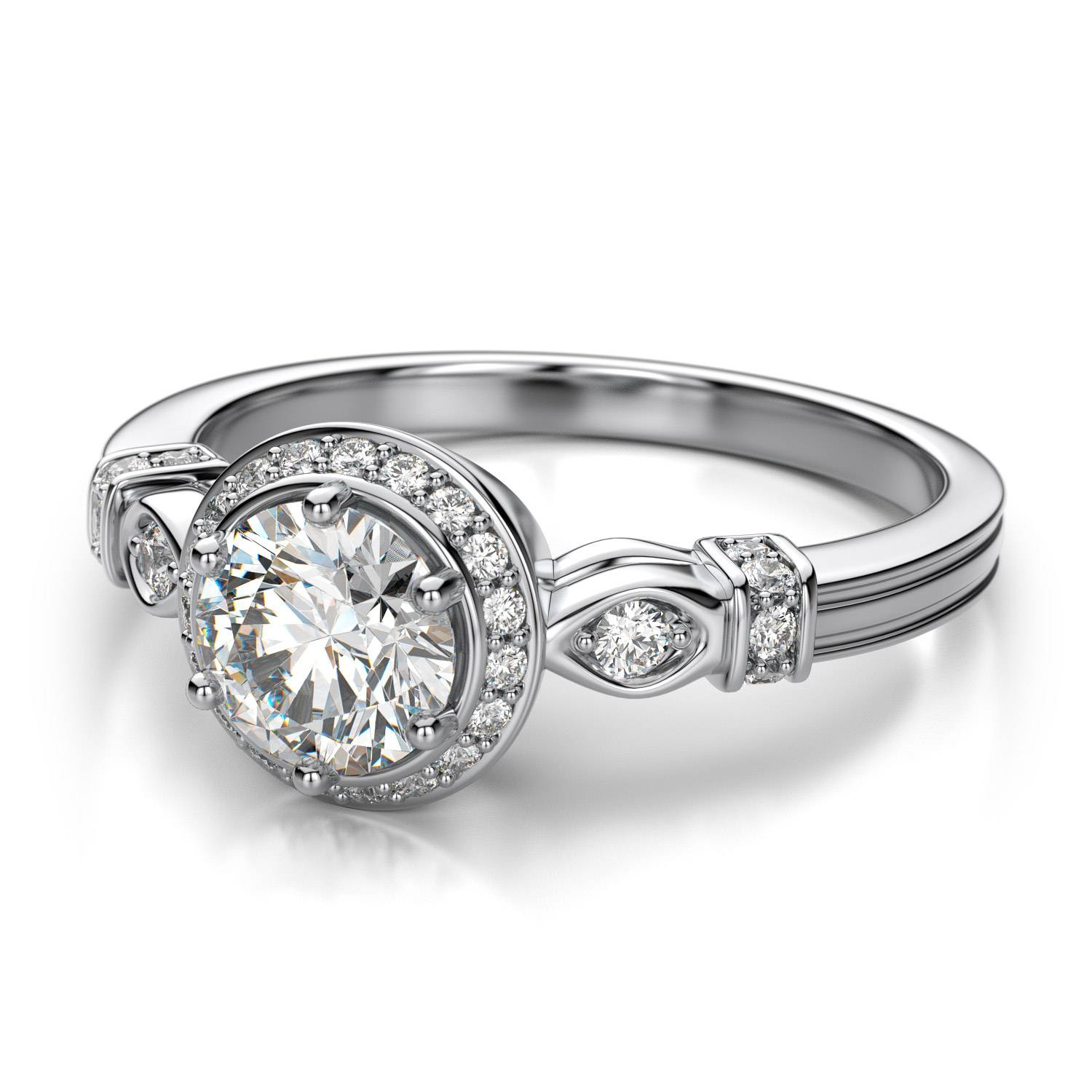 Round Prong Set Vintage Halo Diamond Engagement Ring In 14K White Within Vintage Halo Engagement Rings (View 7 of 15)