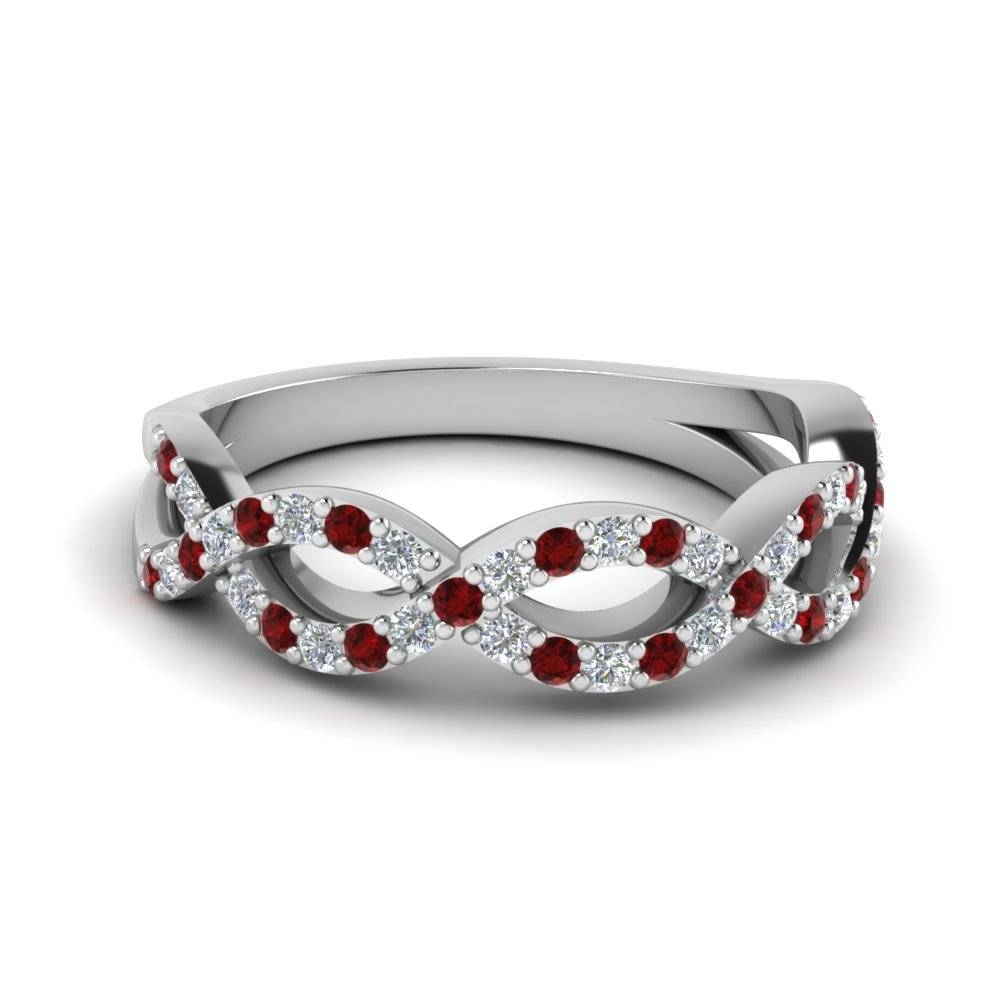 Round Red Ruby Accent Helix Band In 950 Platinum Prong Set Within Current Sapphire Wedding Bands For Women (View 9 of 15)