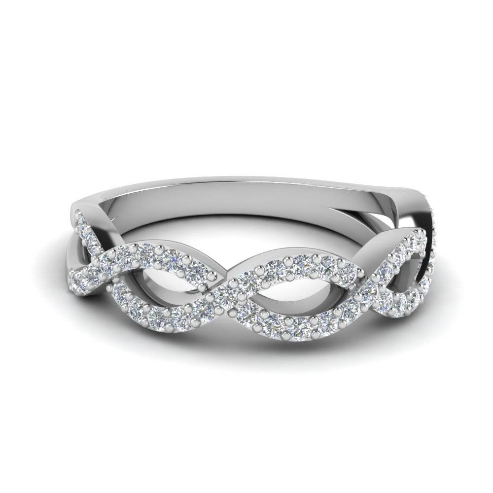 Round White Diamond Accent Helix Band In 14K White Gold Prong Set Intended For Twist Wedding Bands (Gallery 5 of 15)
