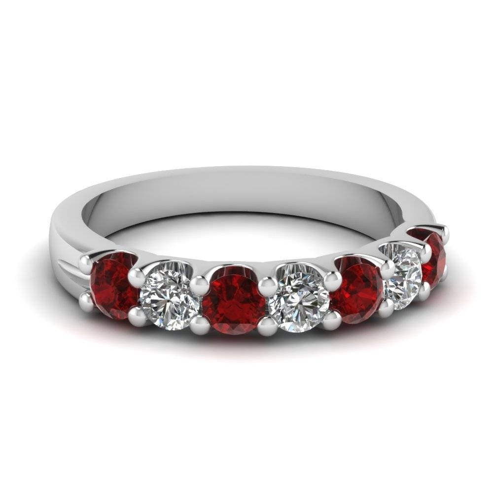 Ruby 7 Stone Round Diamond Anniversary Band In 950 Platinum Inside Anniversary Wedding Bands Sets (View 10 of 15)