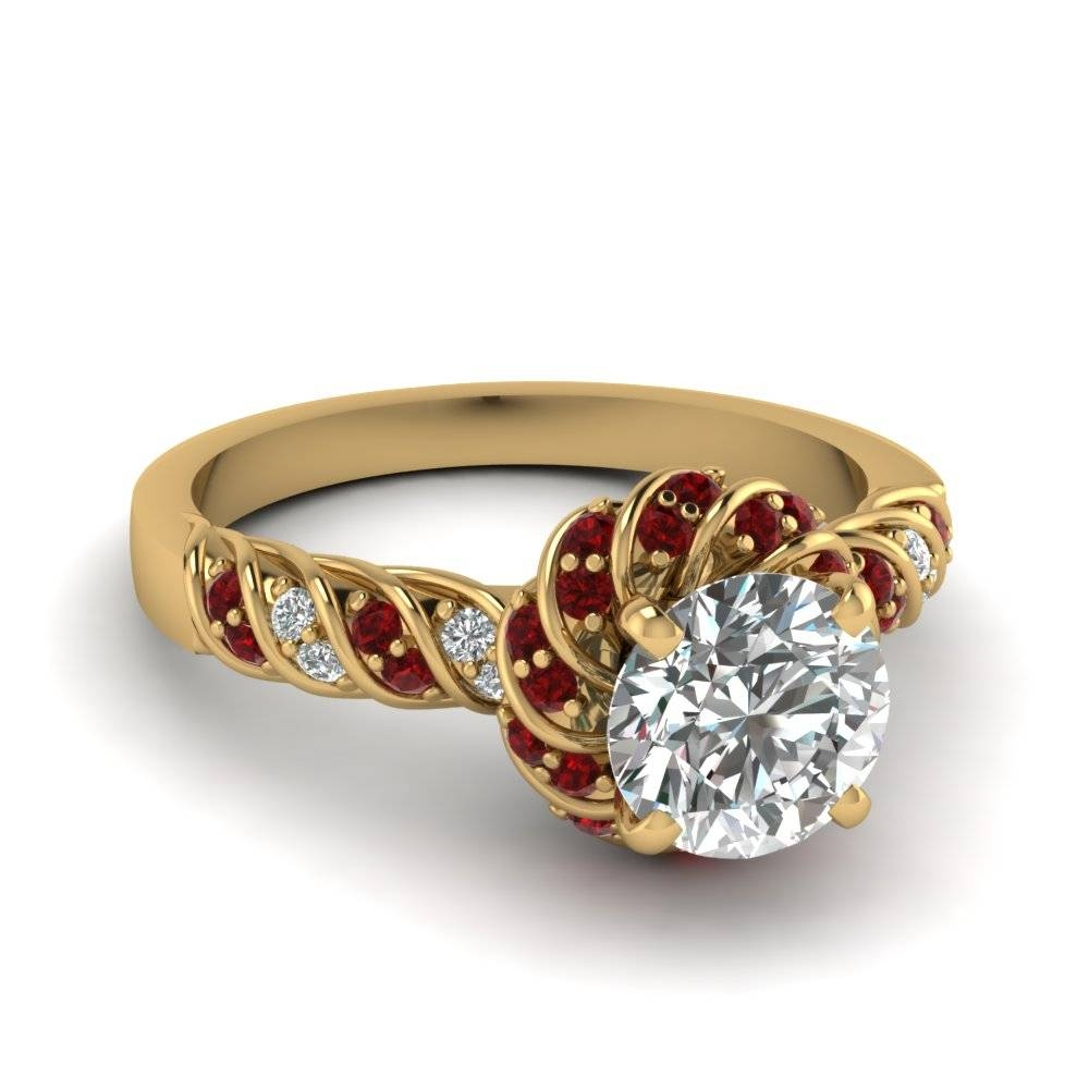 Ruby Twisted Halo Round Cut Diamond Ring In 14K Yellow Gold With Regard To Halo Style Diamond Engagement Rings (Gallery 15 of 15)