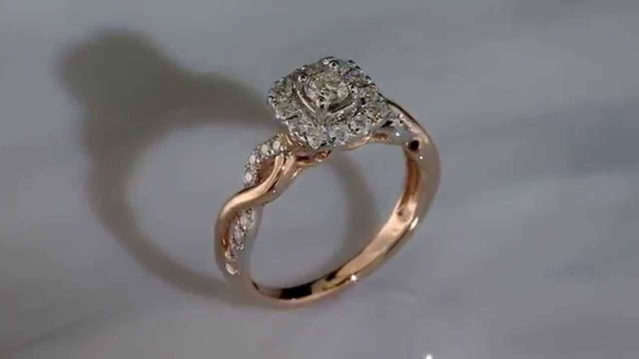 "Sabrina"" Diamond Halo Infinity Twist Rose Gold Engagement Ring Pertaining To Rogers And Holland Engagement Rings (View 9 of 15)"