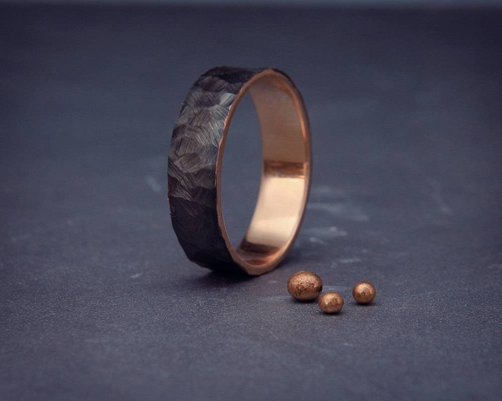Sale Black 14k Rose Gold Men's Wedding Ring Handmade 14k For Black Male Wedding Bands (View 12 of 15)