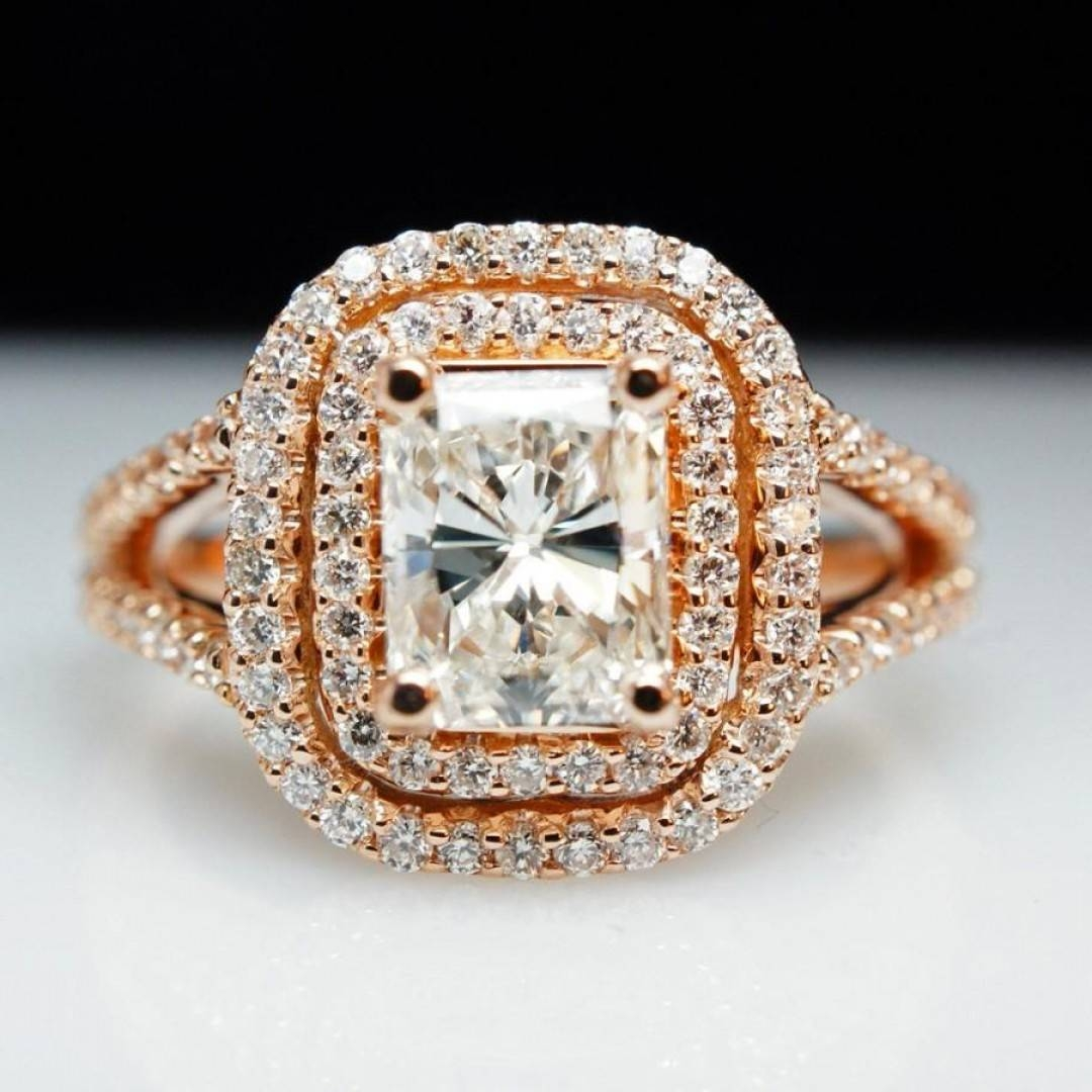 Sale Ct Diamond K Rose Gold Emerald Cut Diamond Engagement Ring In Big Diamond Engagement Rings (Gallery 6 of 15)
