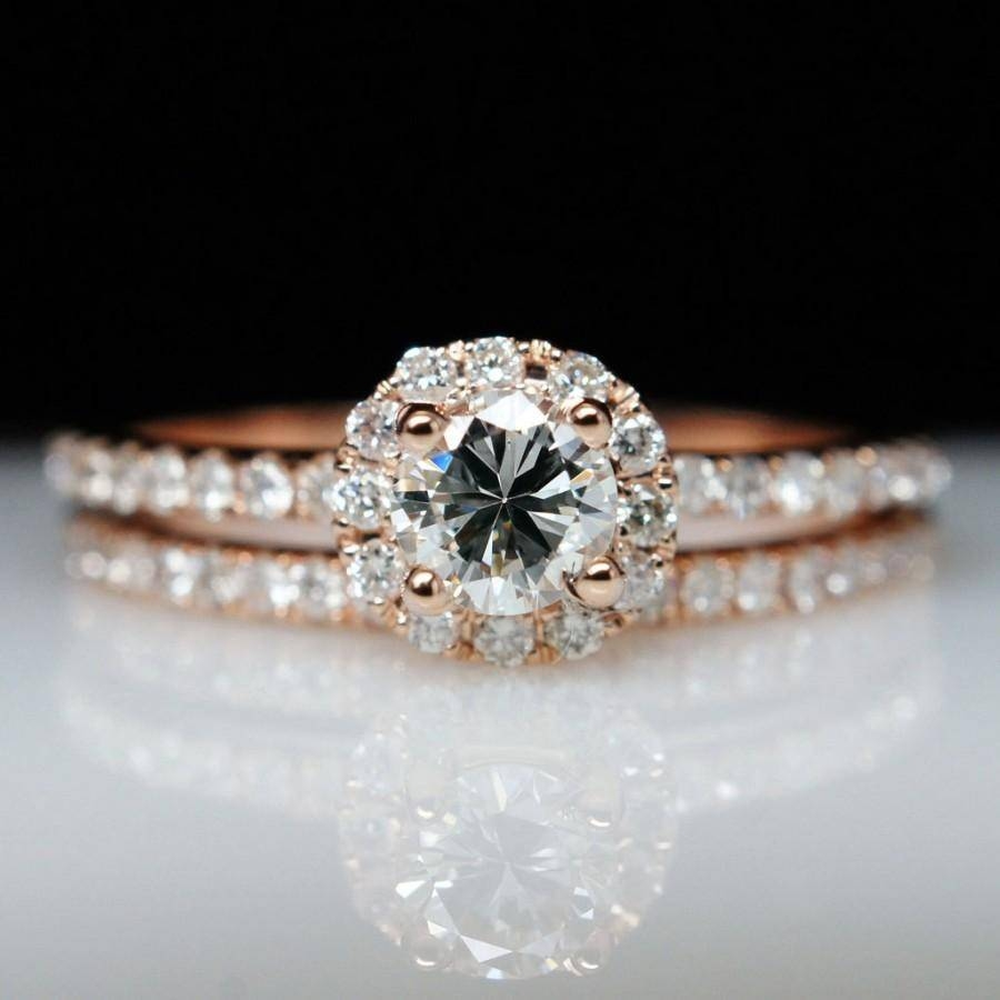 Sale – Petite .72Ctw 14K Rose Gold Diamond Solitaire Engagement Pertaining To Solitaire Rings With Wedding Band (Gallery 6 of 15)