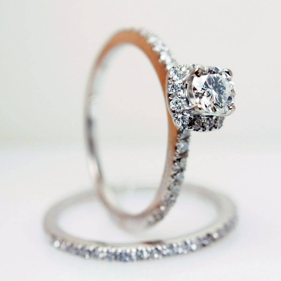 Sale Solitaire Halo Diamond Engagement Ring & Wedding Band In 14K With Wedding Bands On Sale (View 9 of 15)