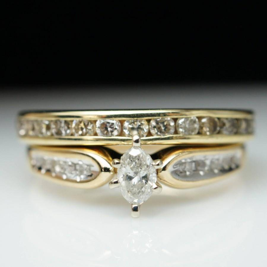 Sale Vintage Estate .80Ctw Marquise Cut Diamond Engagement Ring Within Vintage Yellow Gold Wedding Rings (Gallery 15 of 15)