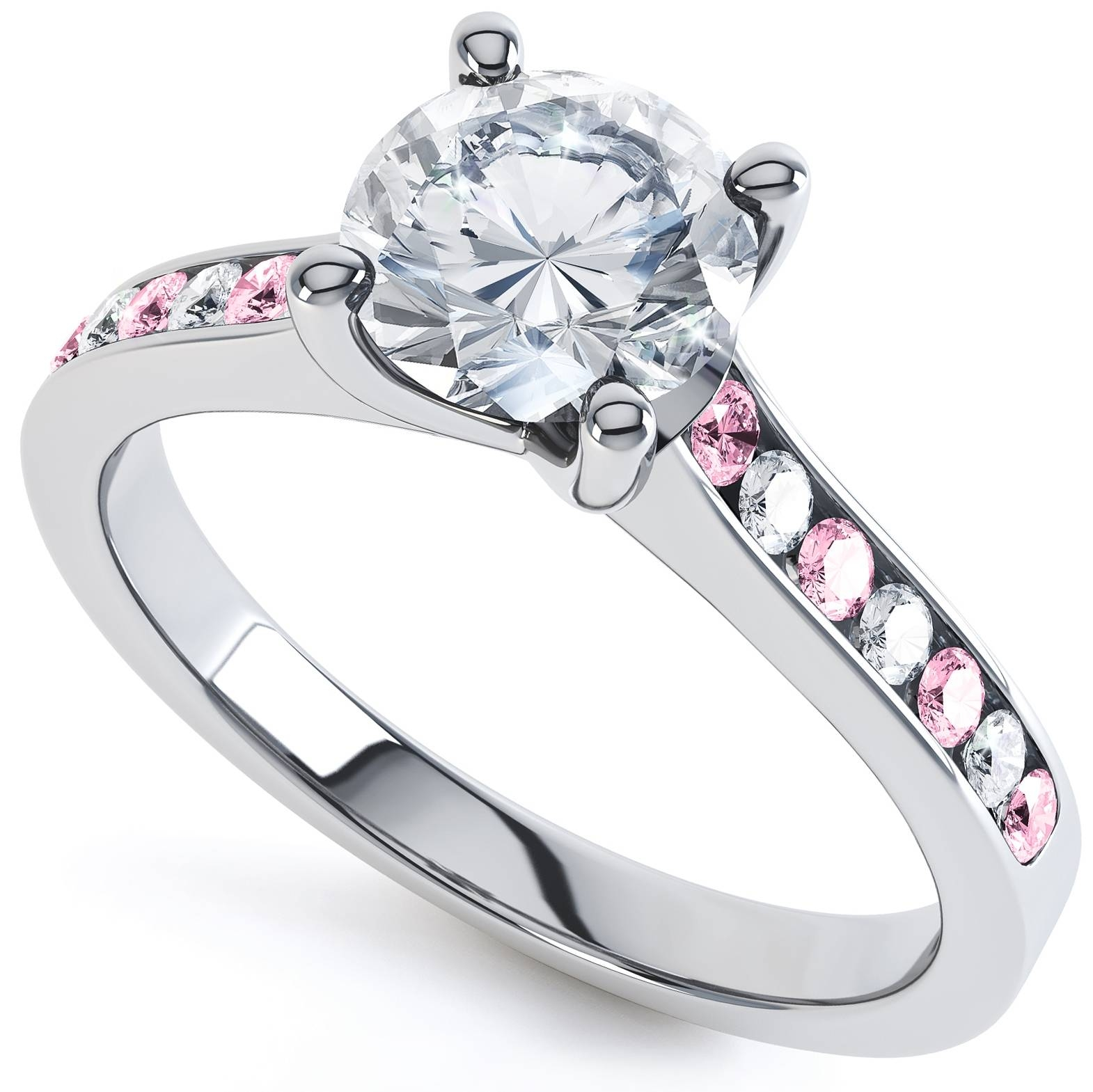 Sapphire And Diamond Shoulder Engagement Ring With Pink Sapphire And Diamond Engagement Rings (Gallery 15 of 15)