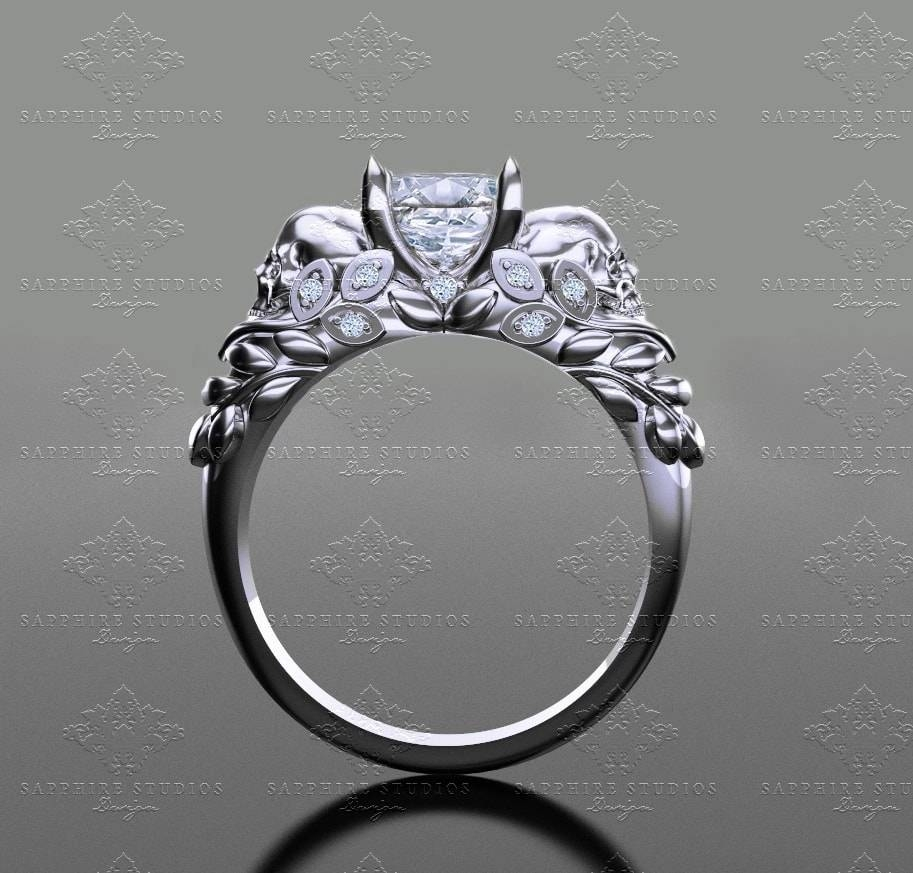 Sapphire Studios 'venice ' 1.30Ct Princess Cut White Gold Skull In Silver Princess Cut Diamond Engagement Rings (Gallery 12 of 15)