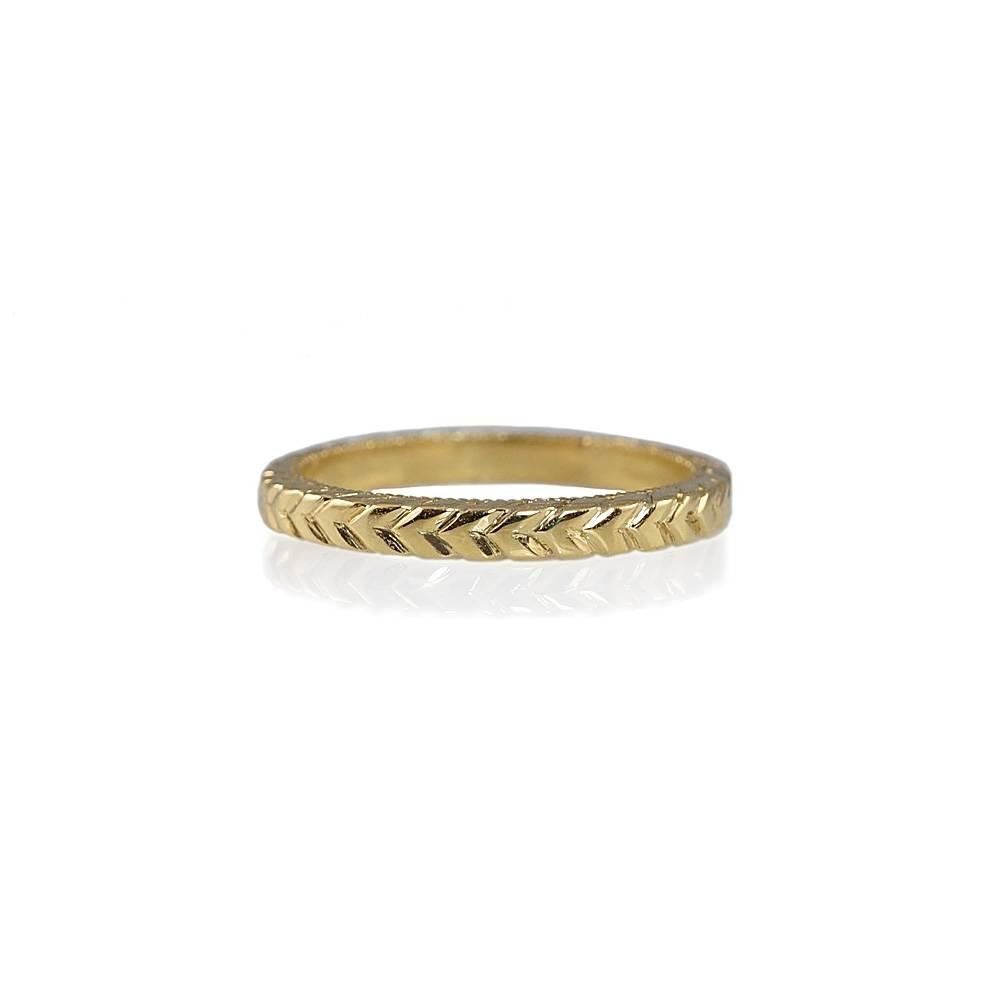 Sarah Hand Engraved Yellow Gold Wedding Band Throughout Engraved Gold Wedding Bands (View 13 of 15)