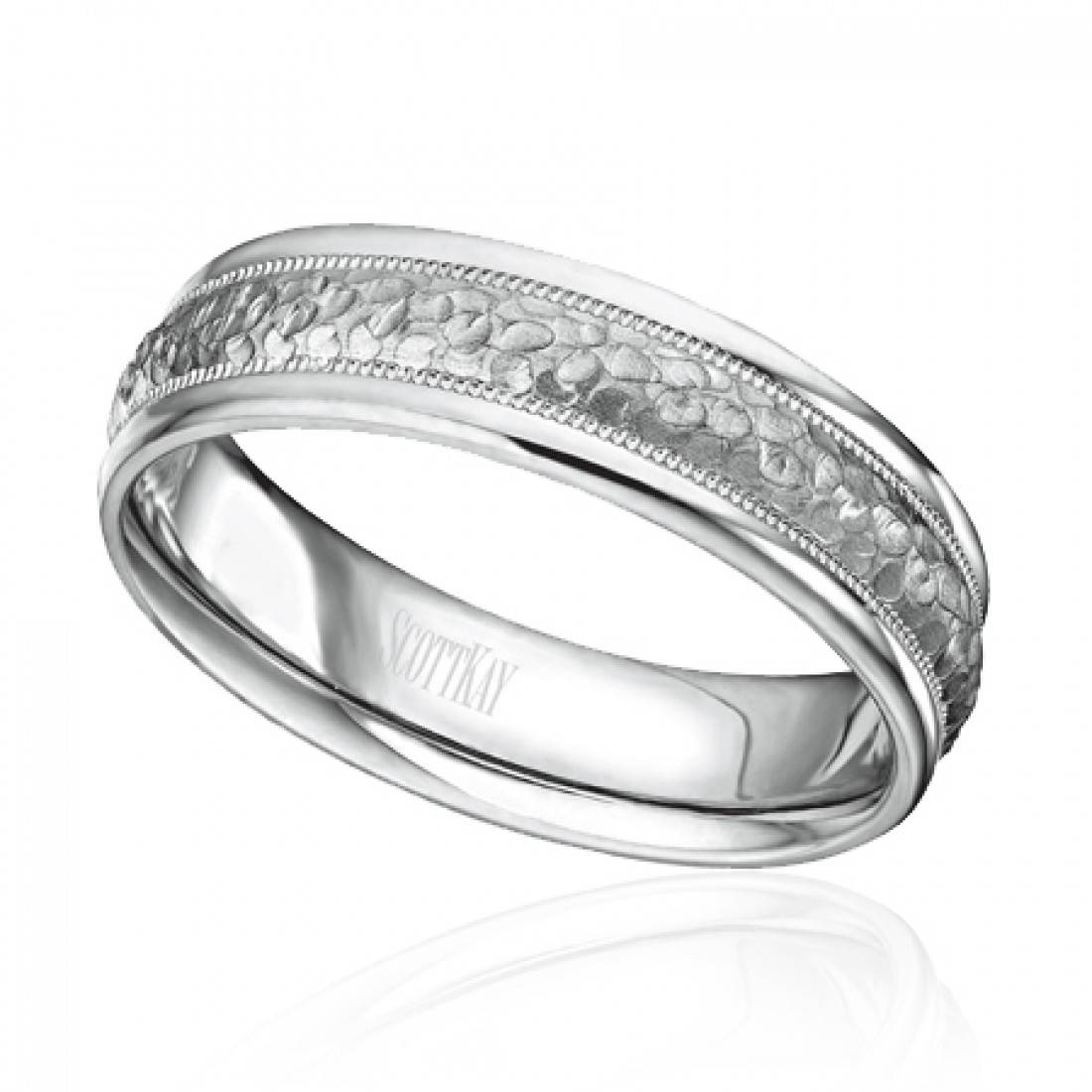 Scott Kay Men's Paltinum 6Mm Hammered Center Milgrain Edge Wedding Inside Mens Milgrain Wedding Bands (View 12 of 15)