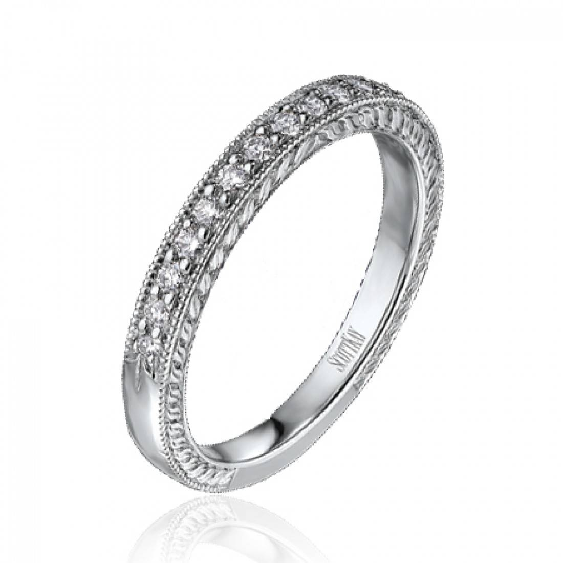 Scott Kay Platinum Engraved Milgrain Diamond Wedding Band  (View 12 of 15)