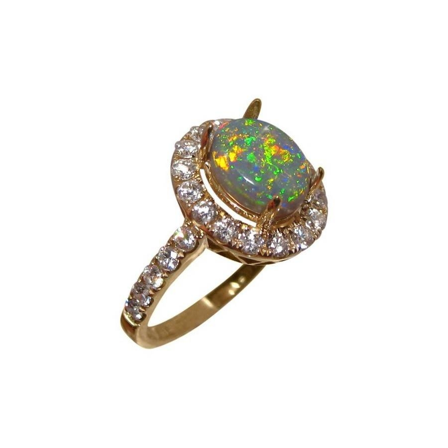 Semi Black Opal And Diamond Ring For Women | Flashopal With Regard To Australia Opal Engagement Rings (Gallery 15 of 15)