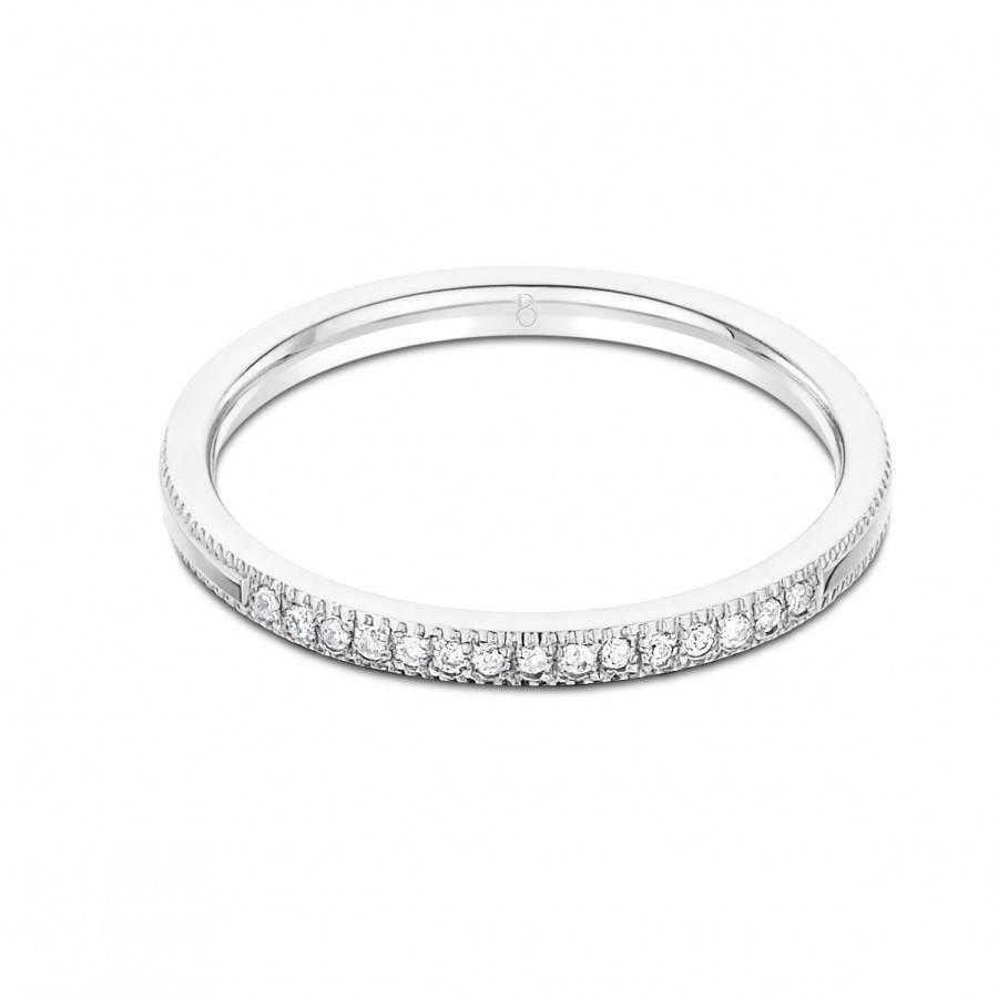 Serenity 18Ct White Gold Milgrain Diamond Wedding Band – Diamond With Newest White Gold Milgrain Wedding Bands (View 9 of 15)