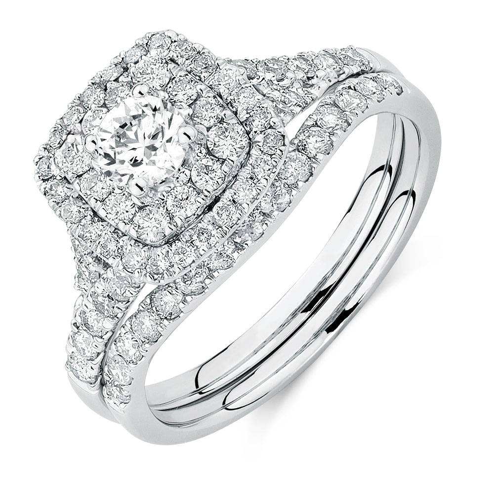Set With 1 1/5 Carat Tw Of Diamonds In 14Kt White Gold For Halo Diamond Wedding Band Sets (View 11 of 15)