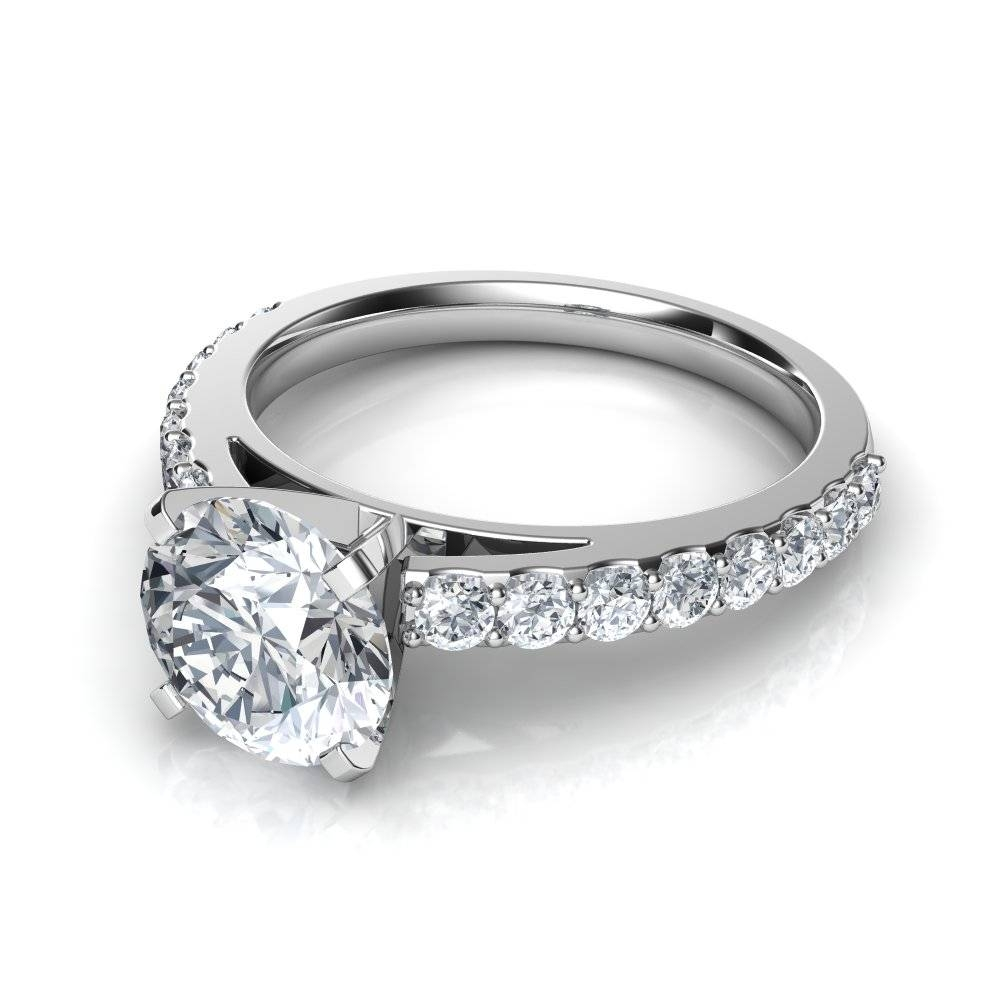 Shared Prong Round Cut Diamond Engagement Ring Within Engagement Rings With Side Diamonds (View 5 of 15)