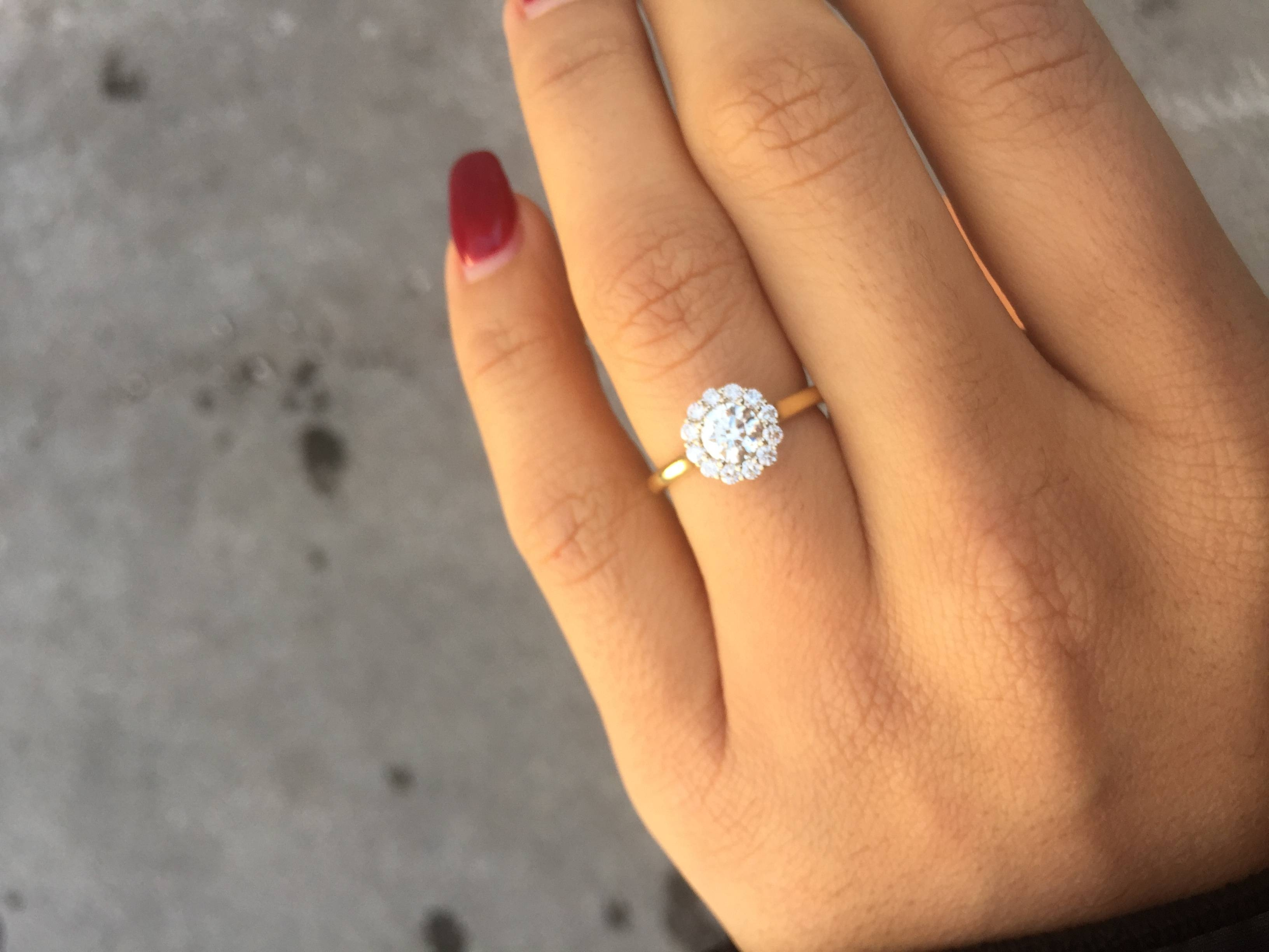 Show Me Your 1 Carat Round Diamond Halo Engagement Rings! – Weddingbee In 1 Ct Wedding Rings (View 11 of 15)