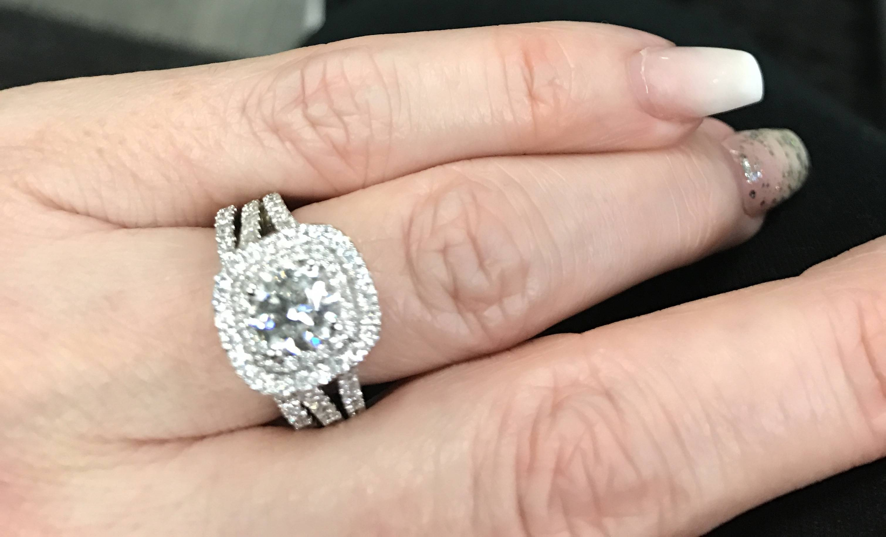 Show Me Your Halo Engagement Ring With Your Wedding Band/ring Intended For Best Wedding Bands For Halo Engagement Rings (View 9 of 15)