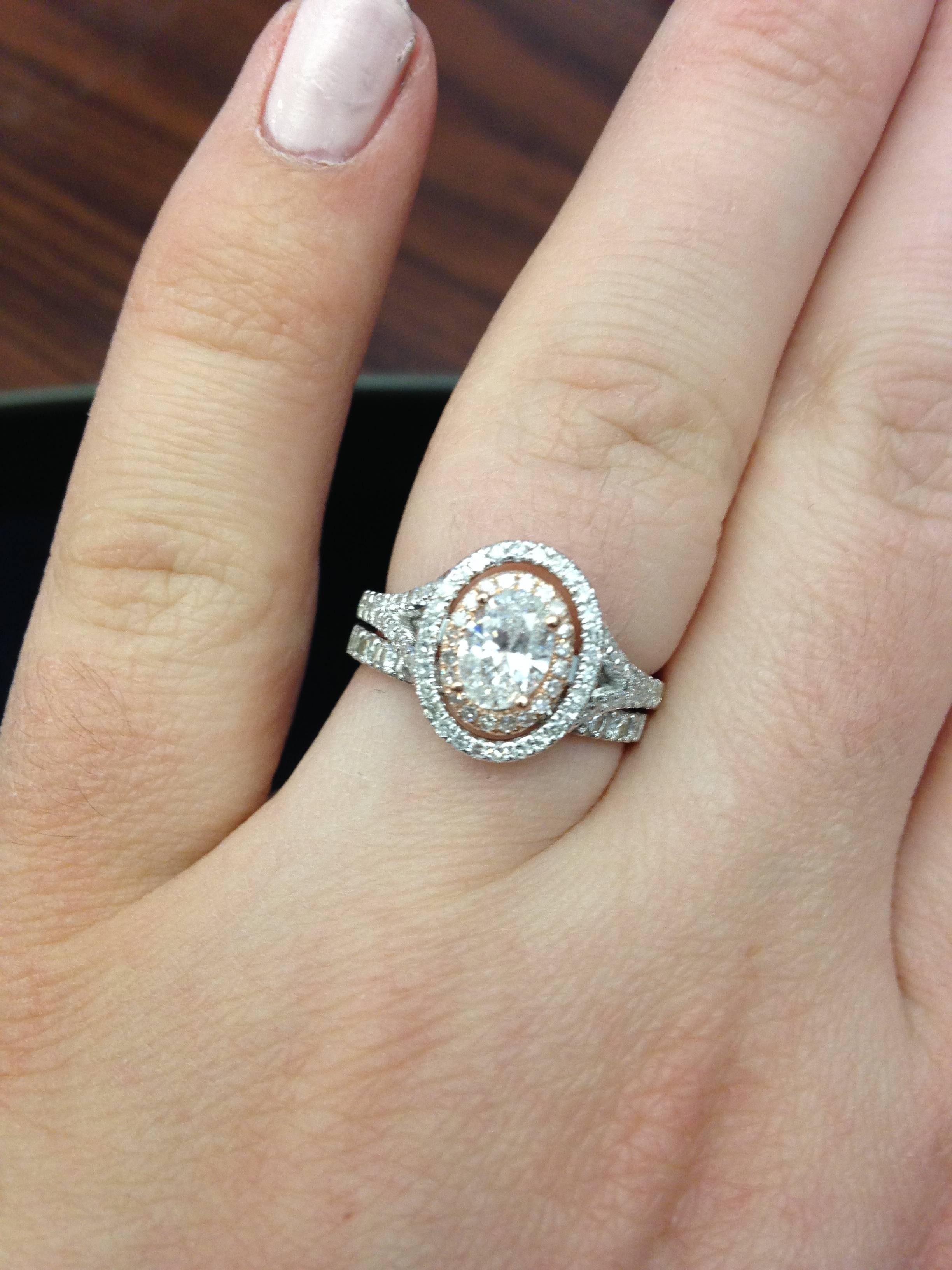 Show Me Your Oval Halo E Rings With Your Wedding Band! – Weddingbee Within Latest Oval Diamond Engagement Rings And Wedding Bands (View 10 of 15)