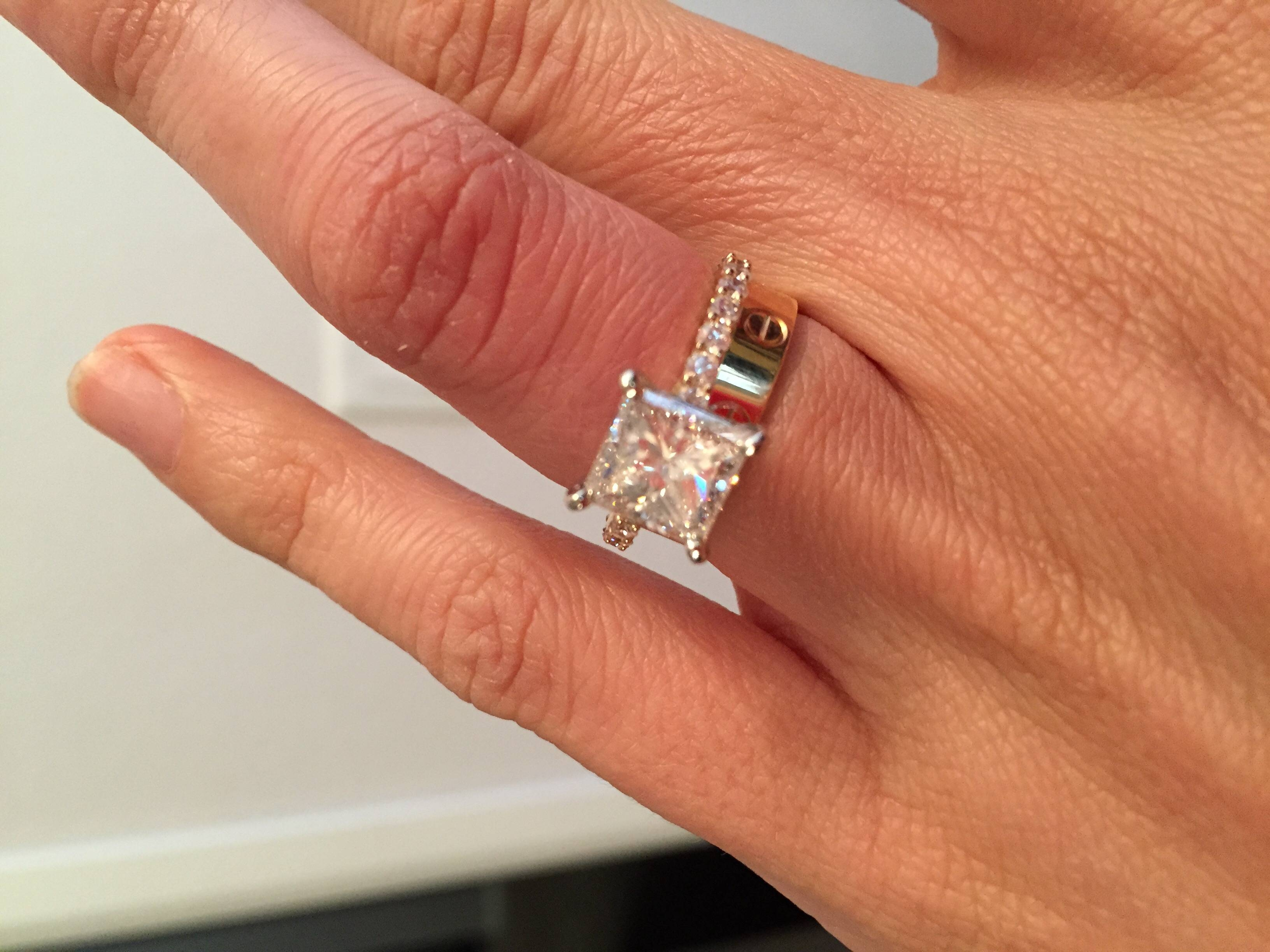 Show Me Your Princess Solitaires! – Weddingbee Within 2.5 Ct Princess Cut Diamond Engagement Rings (Gallery 2 of 15)