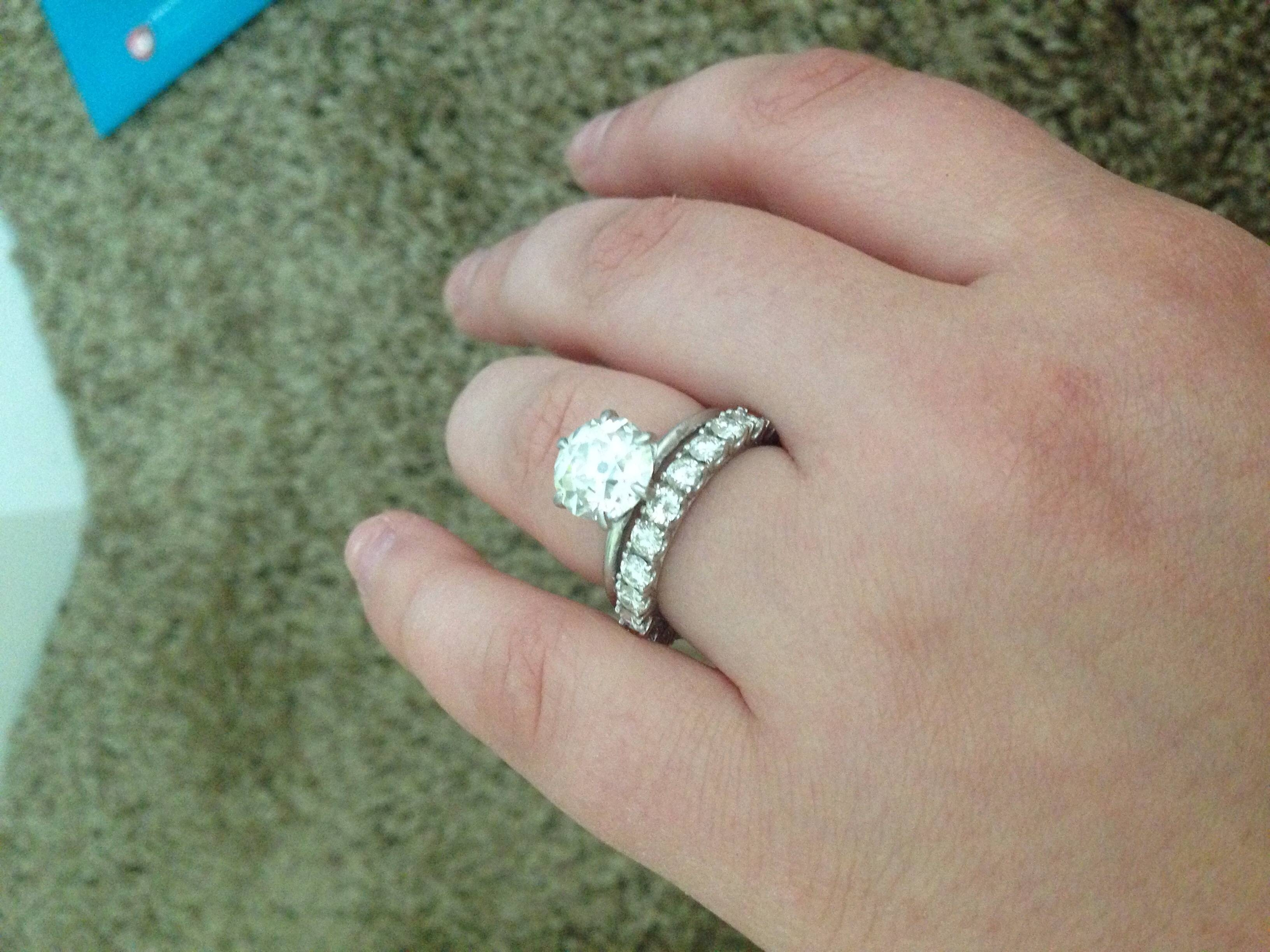 Show Me Your Wedding Band With Tiffany/style Solitaire E Ring With Tiffanys Wedding Bands (Gallery 315 of 339)