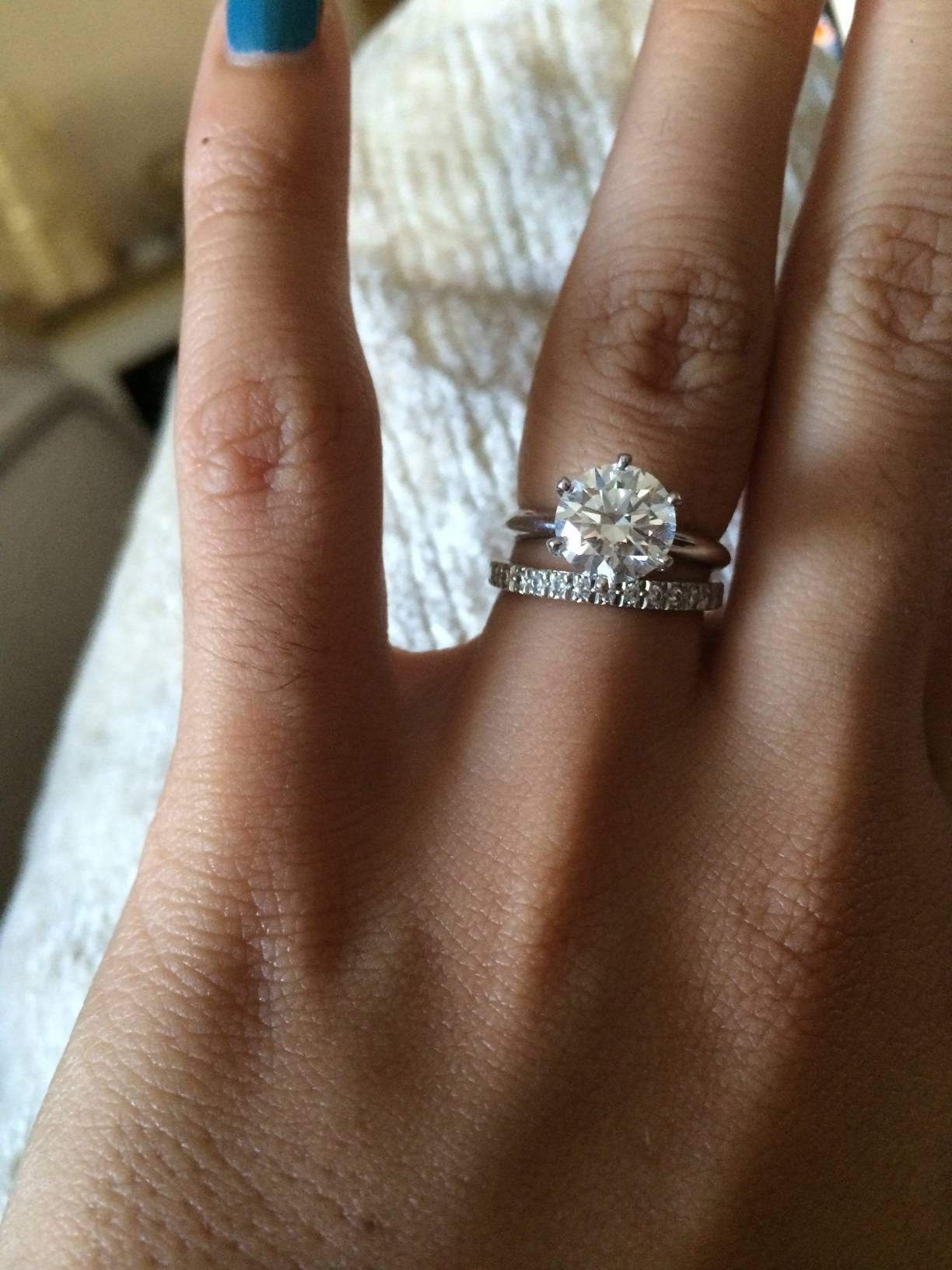 Show Me Your Wedding Band With Tiffany/style Solitaire E Ring With Tiffanys Wedding Bands (Gallery 311 of 339)