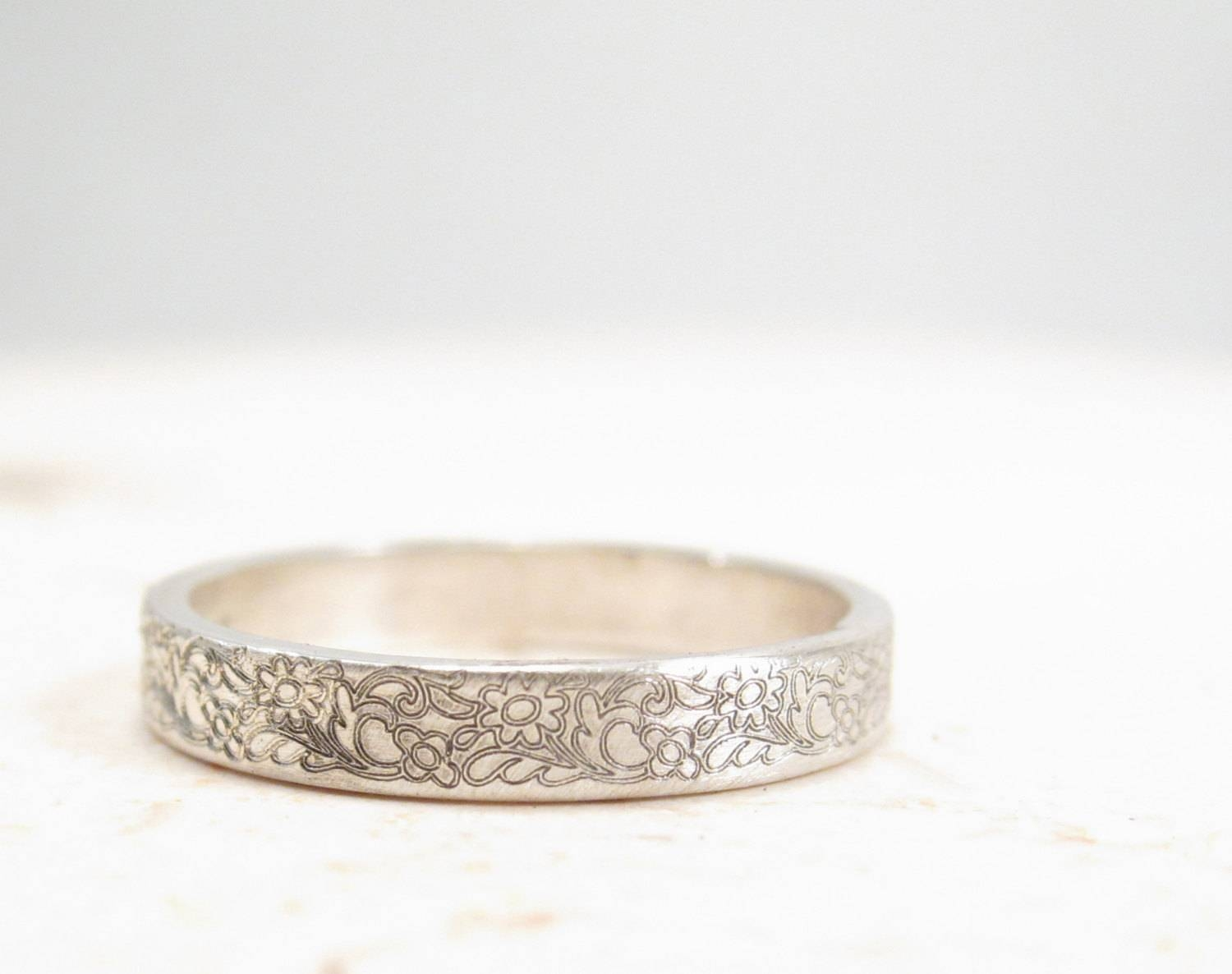 Silver Flower Ring Floral Wedding Band Vintage Inspired Regarding Simple Engagement Rings Without Diamond (View 11 of 15)