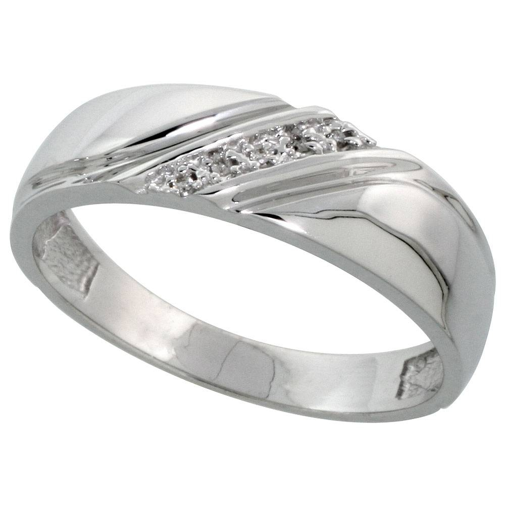 Silver Mens Diamond Wedding Band Ring View 9 Of 15