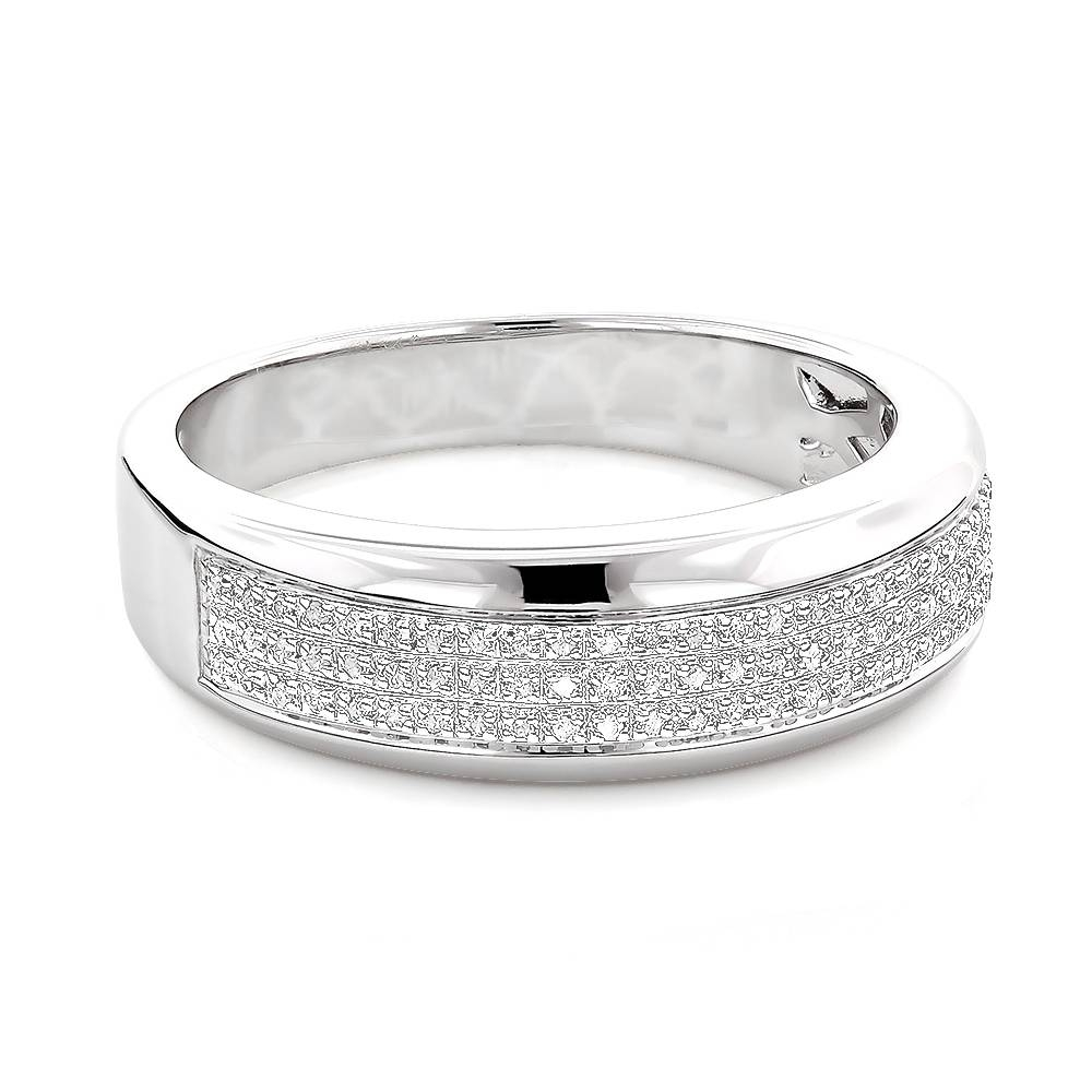 Silver Wedding Bands: Mens Diamond Ring (View 4 of 15)