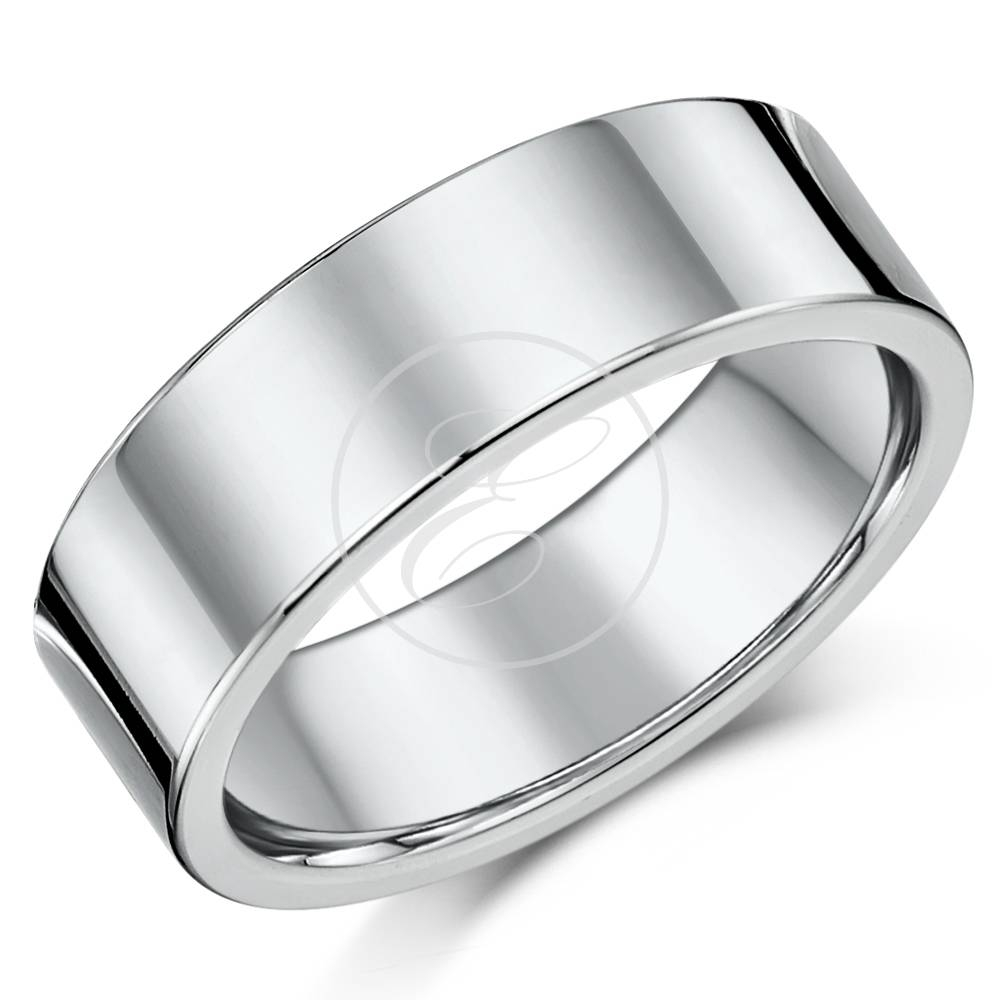 Silver Wedding Rings – Plain Sterling Silver Wedding Bands For Men With 7mm Titanium Wedding Bands (View 15 of 15)