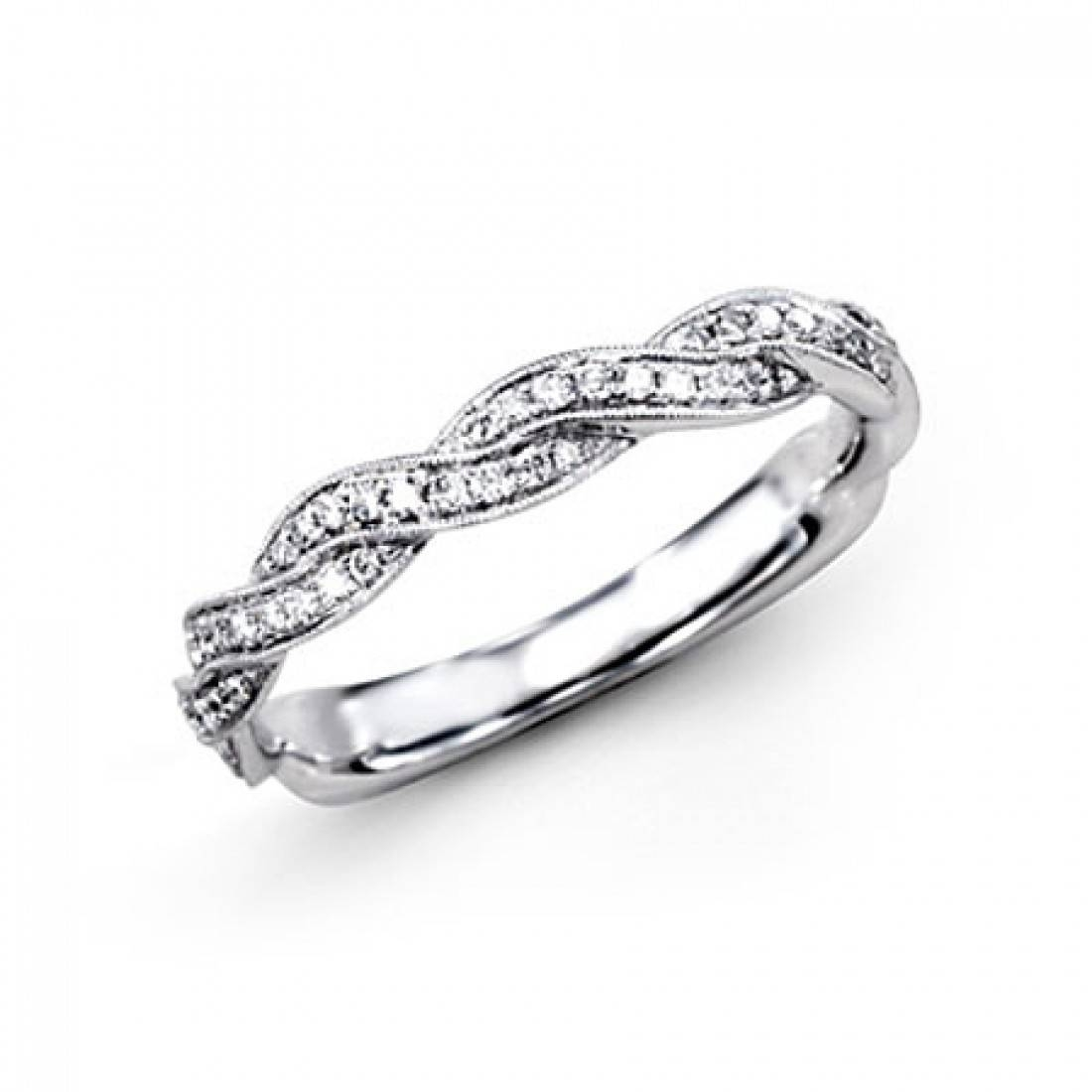 Simon G Platinum Braided Collection Diamond Wedding Band | Windsor For Braided Wedding Bands (View 3 of 15)