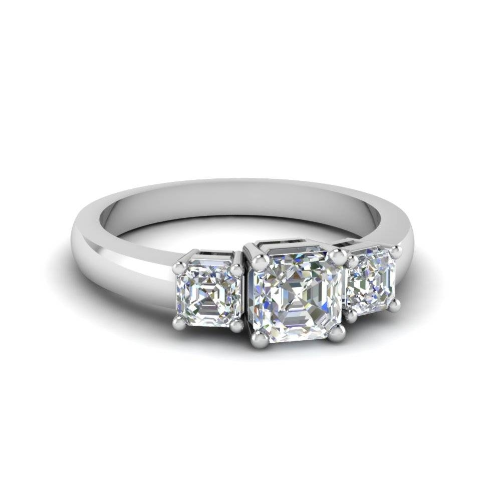 Simple Three Asscher Cut Diamond Engagement Ring In 18K White Gold In Asscher Diamond Engagement Rings (View 14 of 15)