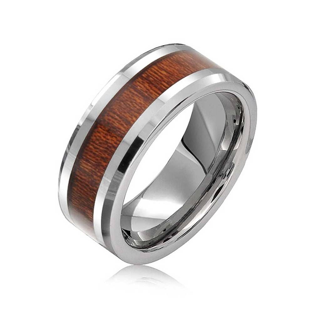 Simulated Wood Inset Beveled Edge Tungsten Wedding Band 8Mm With Regard To Most Recently Released Beveled Edge Mens Wedding Bands (View 11 of 15)