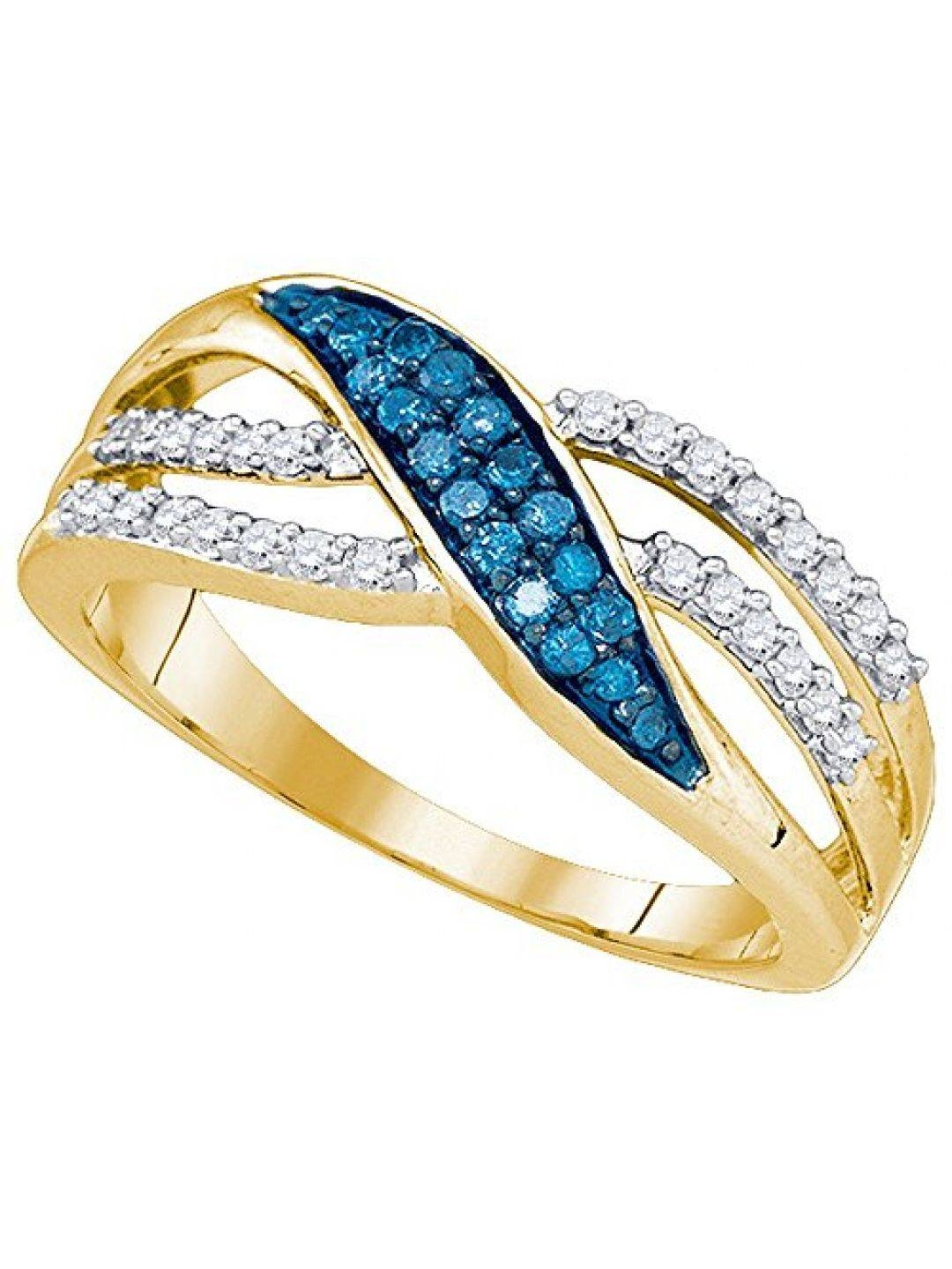Size 5.5 – 10K Yellow Gold Channel Set Round Cut Blue And White With Regard To Recent Yellow Gold Channel Set Wedding Bands (Gallery 14 of 15)