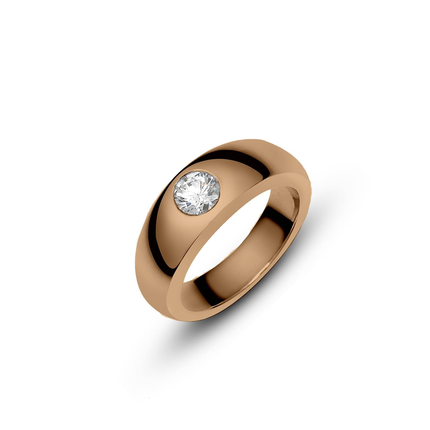 Sleek Appeal With A Diamond Embedded Ring (Rose Gold) – Frou Within Embedded Diamond Engagement Rings (Gallery 8 of 15)