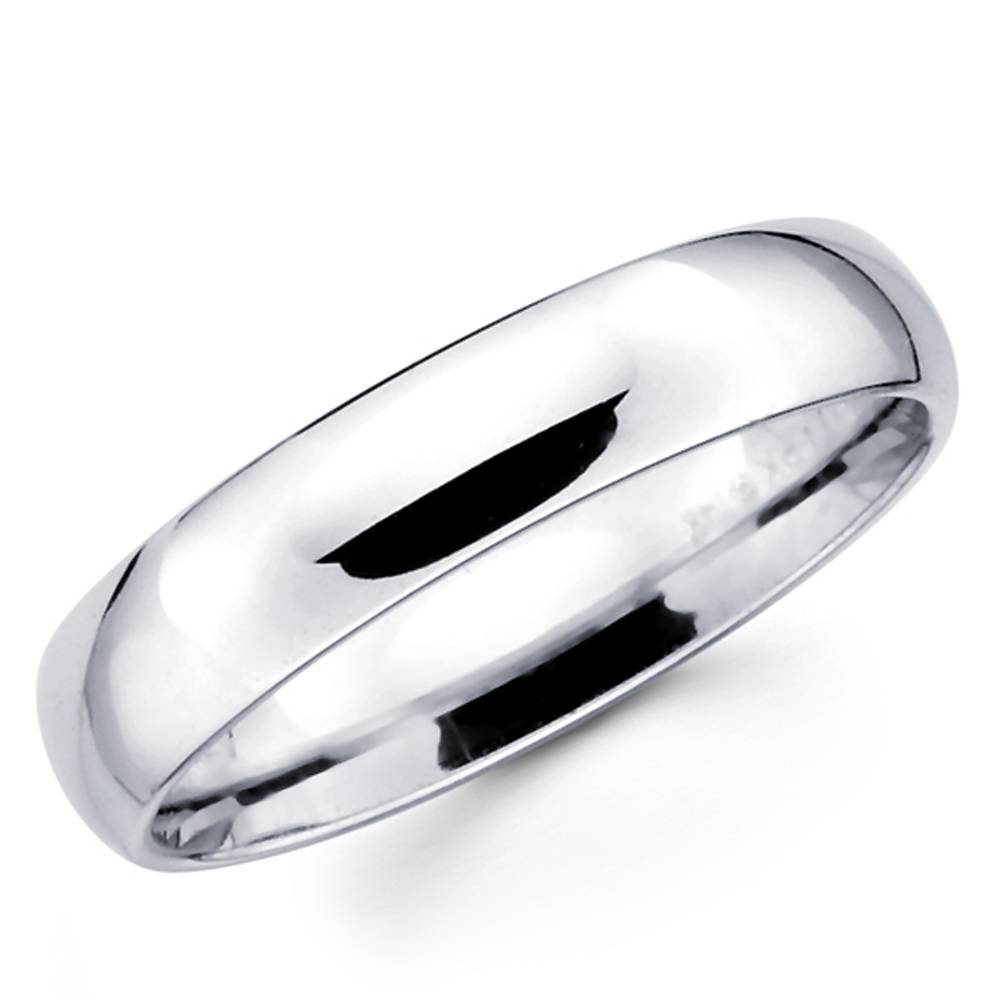 Solid 10K White Gold 2Mm 3Mm 4Mm 5Mm Comfort Fit Men Women Wedding Inside White Gold Plain Wedding Bands (View 13 of 15)