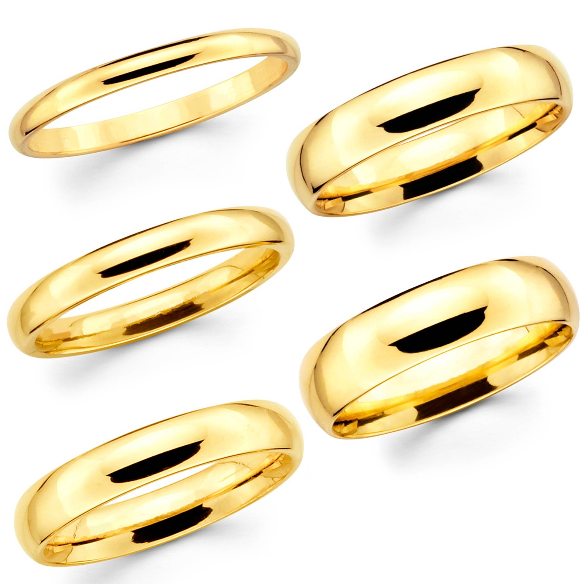 Solid 14K Yellow Gold 2Mm 3Mm 4Mm 5Mm 6Mm Comfort Fit Menwomen Intended For Current 4Mm Comfort Fit Wedding Bands (View 13 of 15)