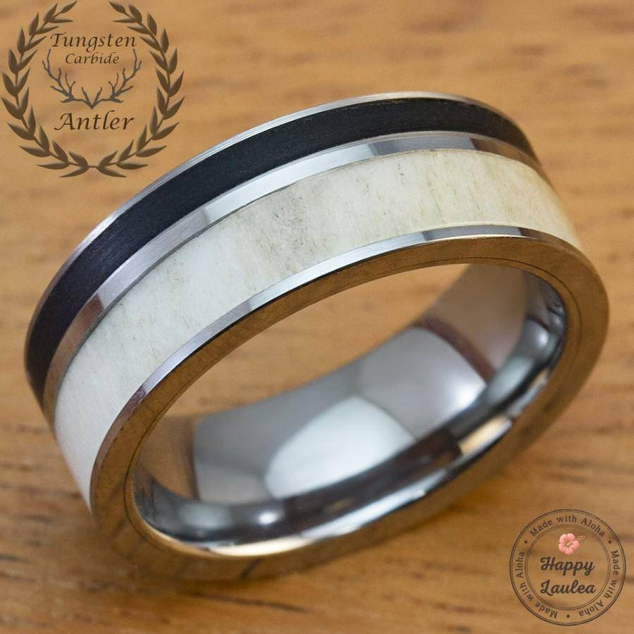 Solid Antler And Brushed Black Onyx Tungsten Carbide Men's Wedding In Mens Black Onyx Wedding Rings (View 15 of 15)