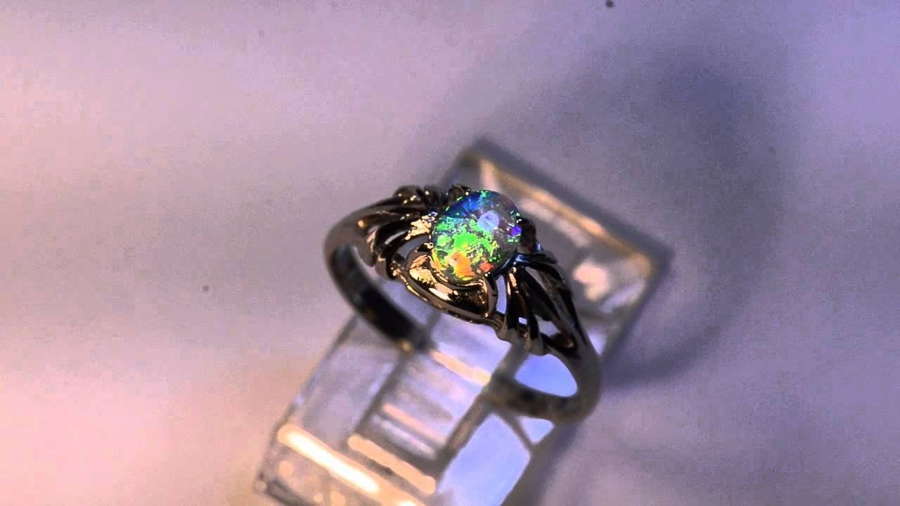 Solid Black Opal Solid White Gold Engagement Ring M12026 – Youtube In Australia Opal Engagement Rings (View 15 of 15)