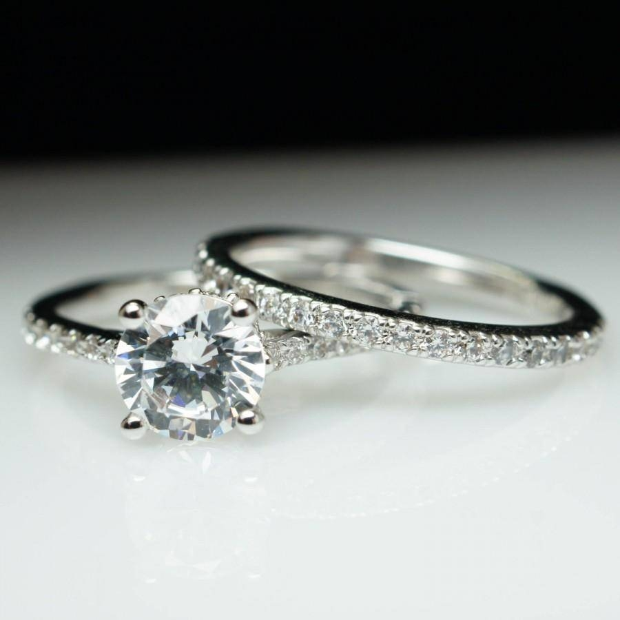 Solitaire Diamond Engagement Ring & Matching Wedding Band W With Latest Custom Platinum Wedding Bands (View 14 of 15)
