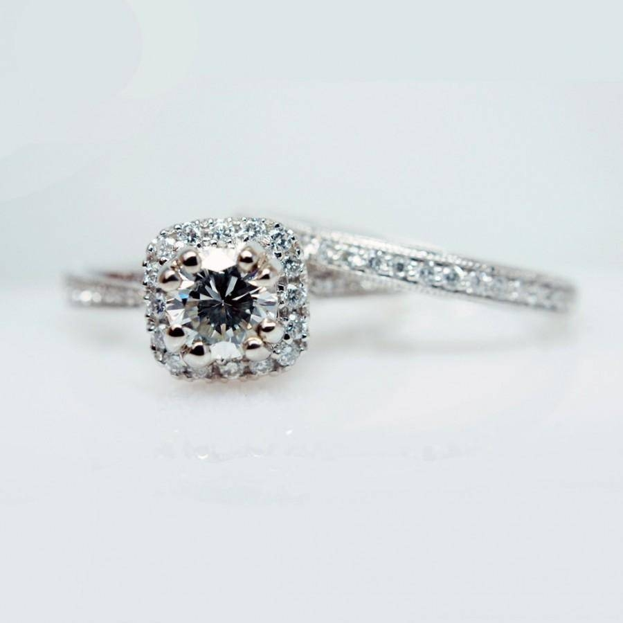 Solitaire Halo Diamond Engagement Ring & Wedding Band Set Simple Intended For Halo Diamond Wedding Band Sets (View 13 of 15)