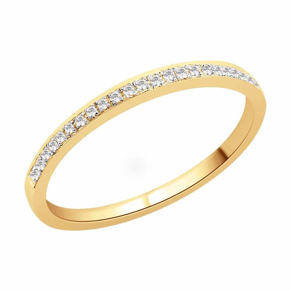 Sparkling 18 Carat Yellow Gold Wedding Band  (View 10 of 16)