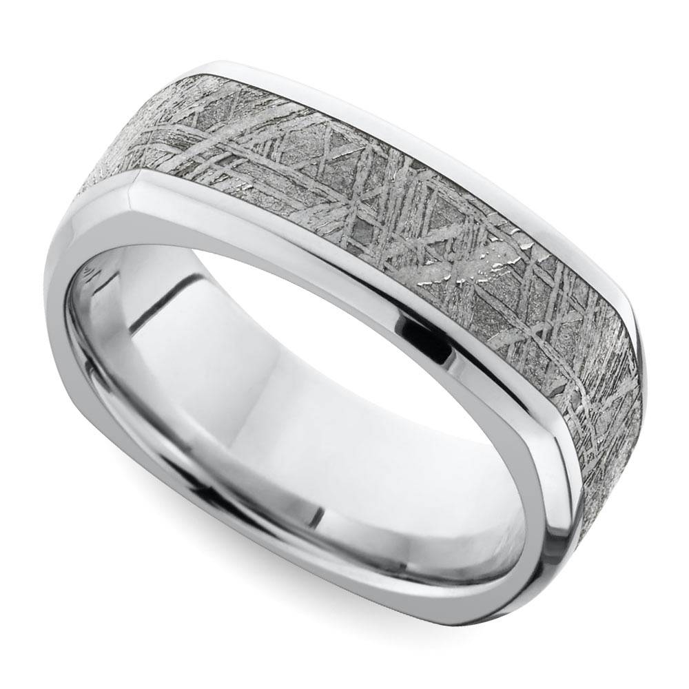 Square Beveled Men's Wedding Ring With Meteorite Inlay In Cobalt Within Mens Square Wedding Bands (View 10 of 15)