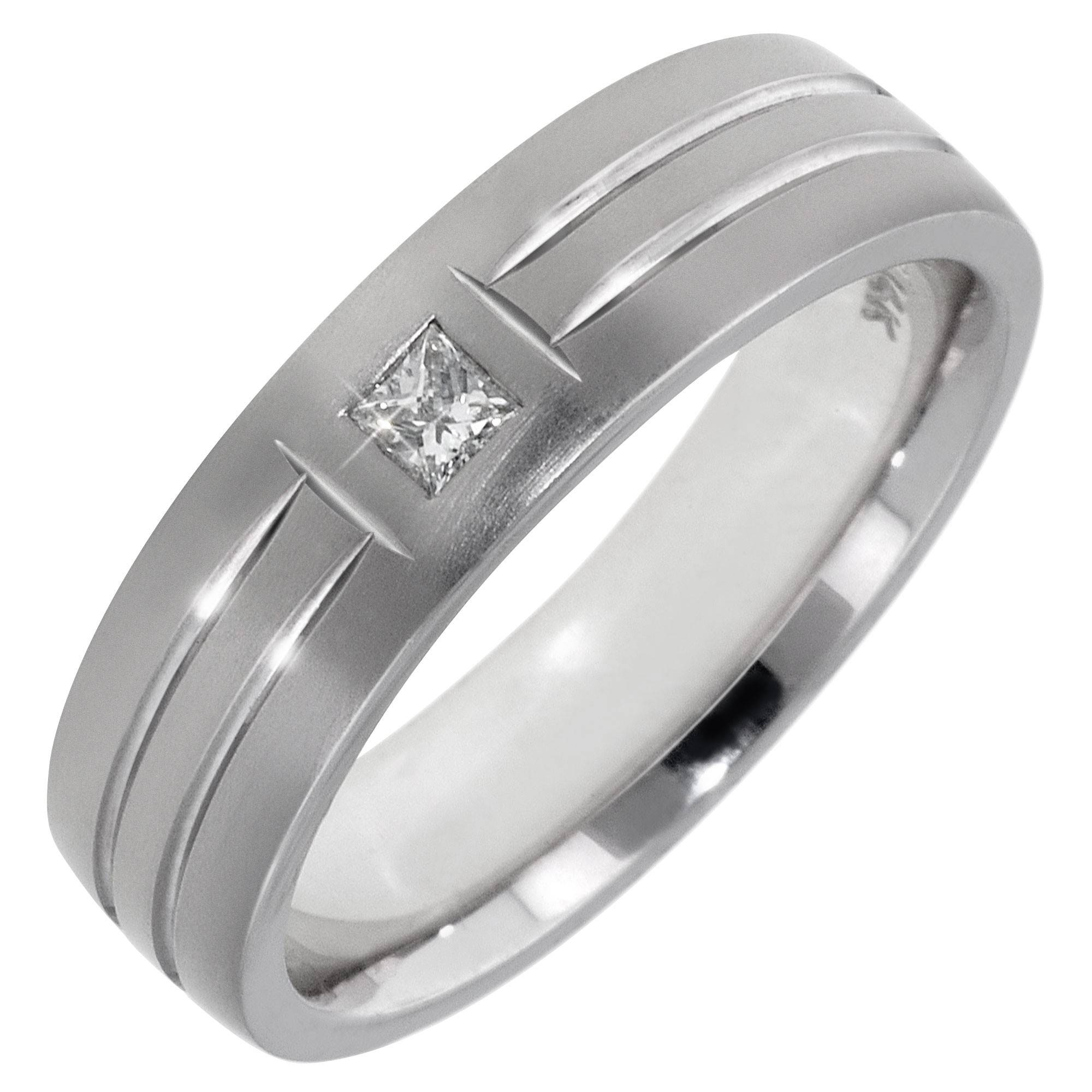 Square Cut Diamond Mens Wedding Band In 14Kt White Gold 1 10Ct Tw
